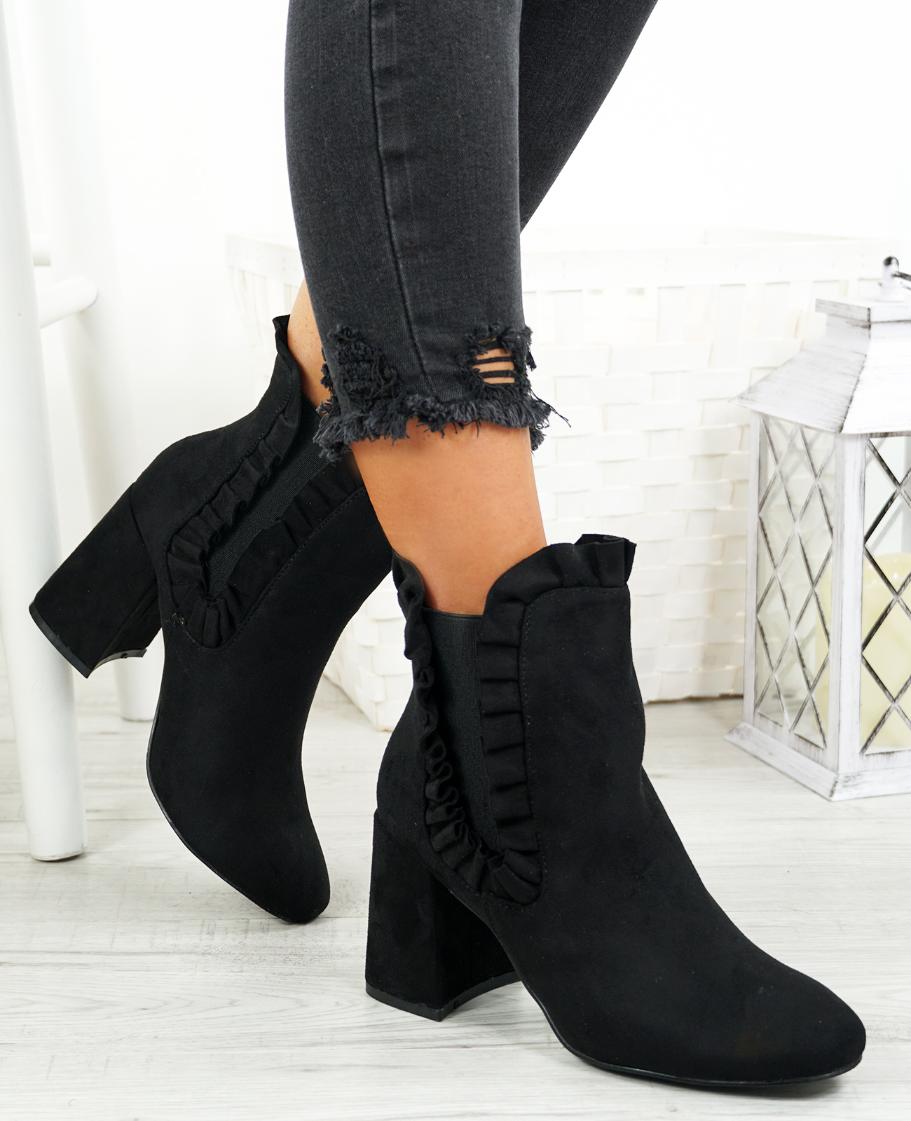 WOMENS-LADIES-RUFFLE-ANKLE-BOOTS-MID-HIGH-BLOCK-HEEL-CHELSEA-BOOT-SHOES-SIZE