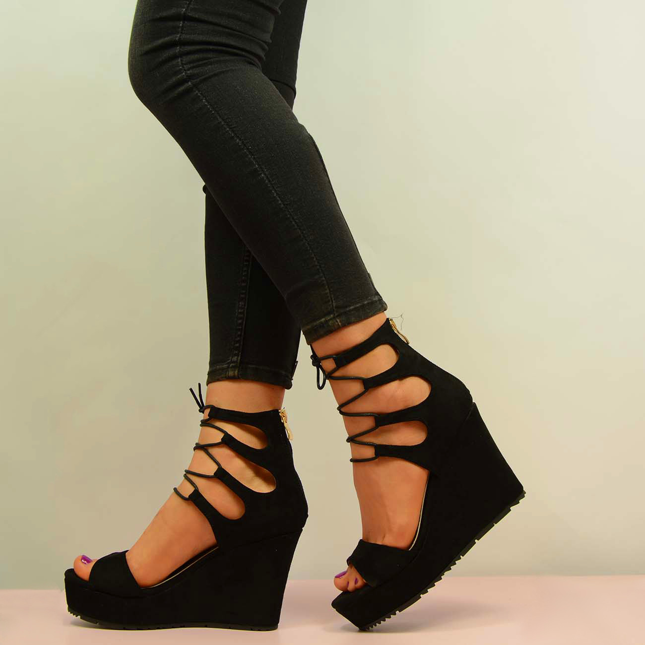 LADIES-WOMENS-LACE-UP-HIGH-HEEL-WEDGE-SANDALS-PLATFORM-SHOES-SIZE-UK