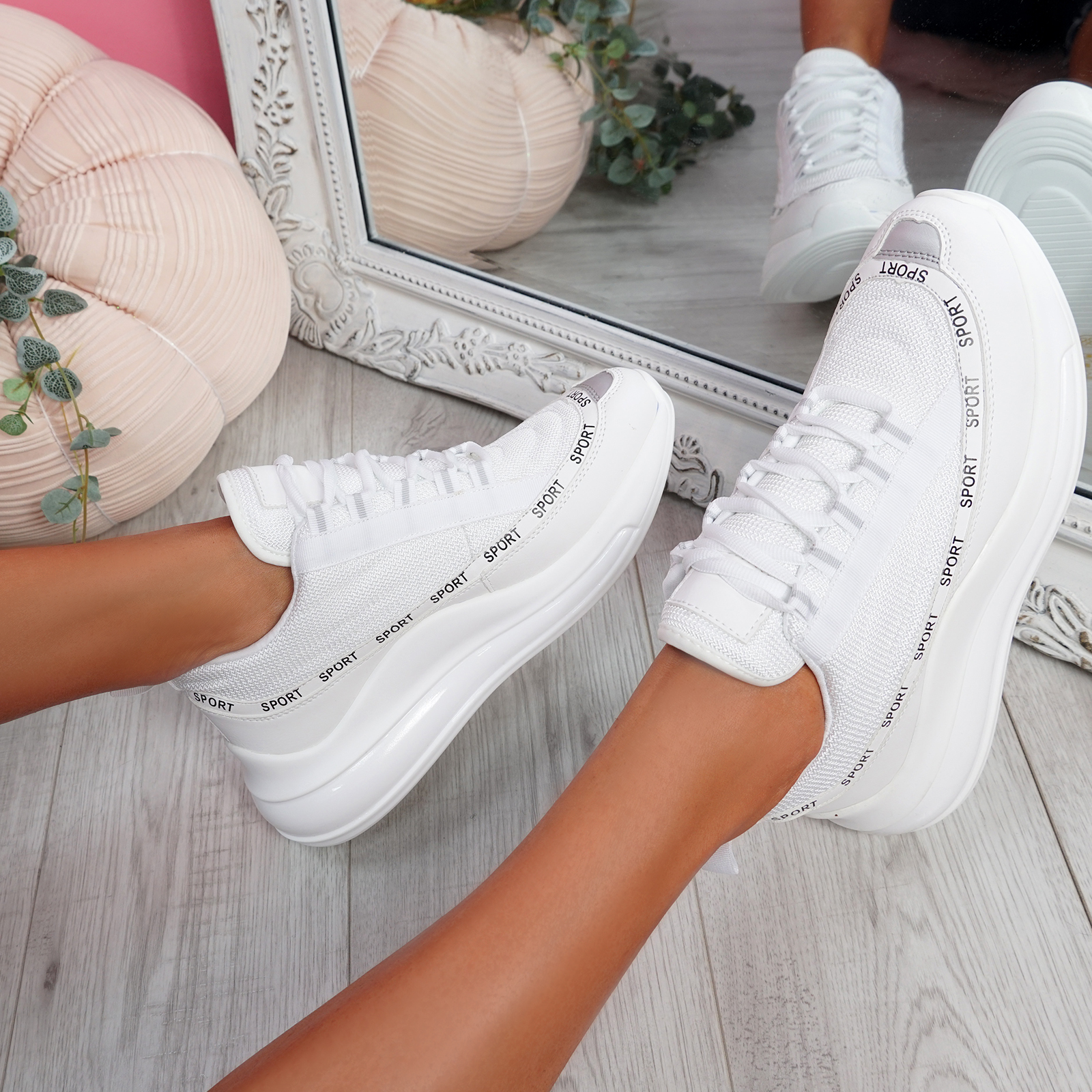 WOMENS LADIES LACE UP SPORT CHUNKY TRAINERS WOMEN PARTY SNEAKERS SHOES