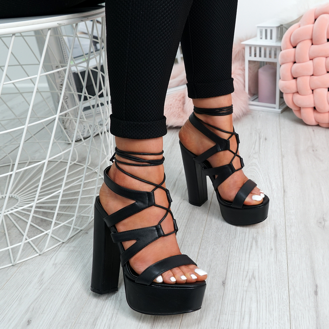 Ladies-Cross-Lace-High-Block-Heel-Sandals-Womens-Platforms-Peep-Toe-Shoes-Size thumbnail 3