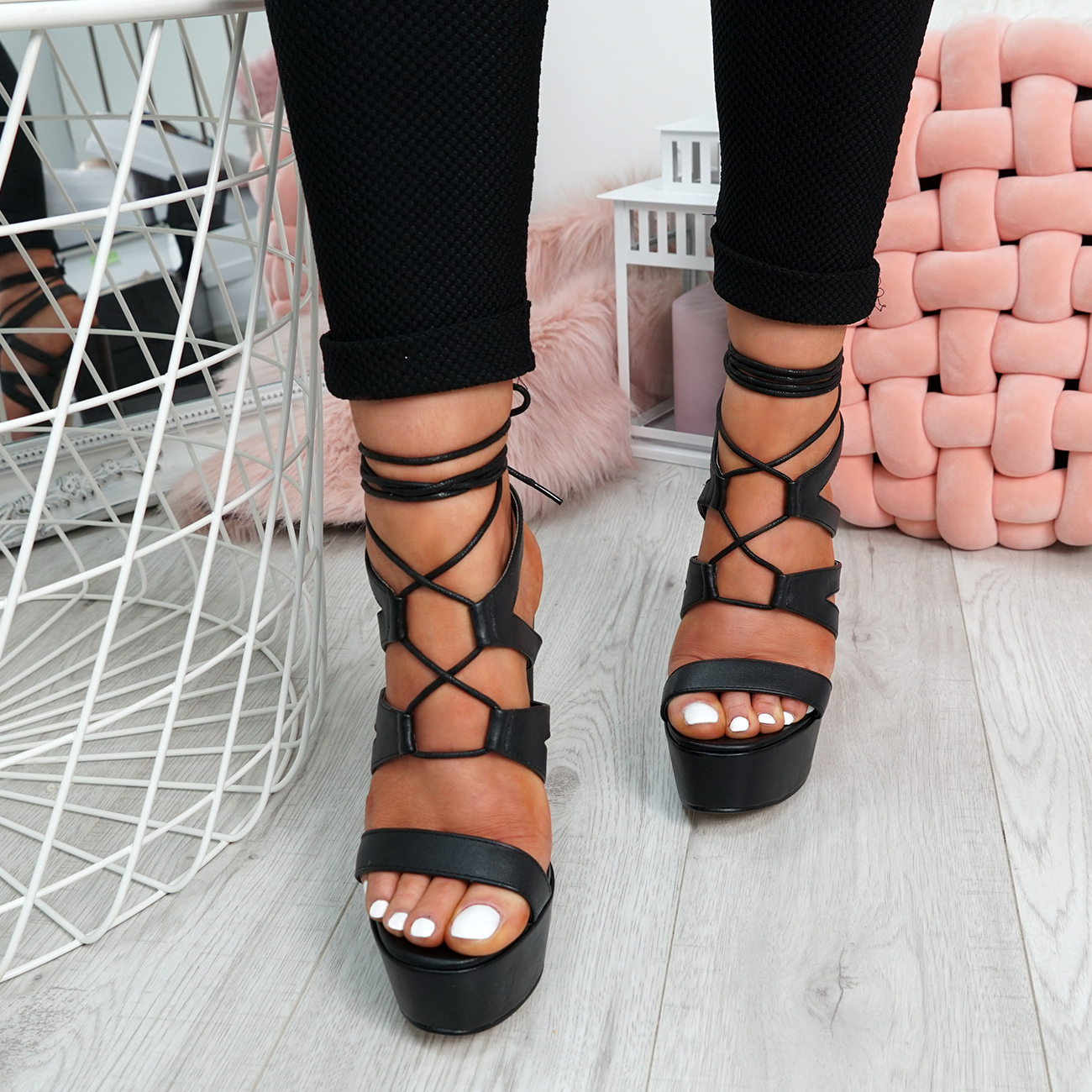 Ladies-Cross-Lace-High-Block-Heel-Sandals-Womens-Platforms-Peep-Toe-Shoes-Size thumbnail 5