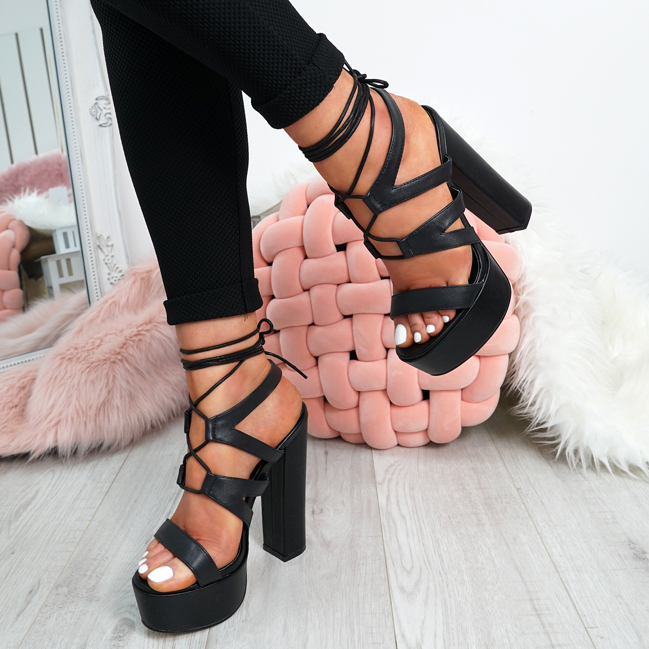 Ladies-Cross-Lace-High-Block-Heel-Sandals-Womens-Platforms-Peep-Toe-Shoes-Size thumbnail 6