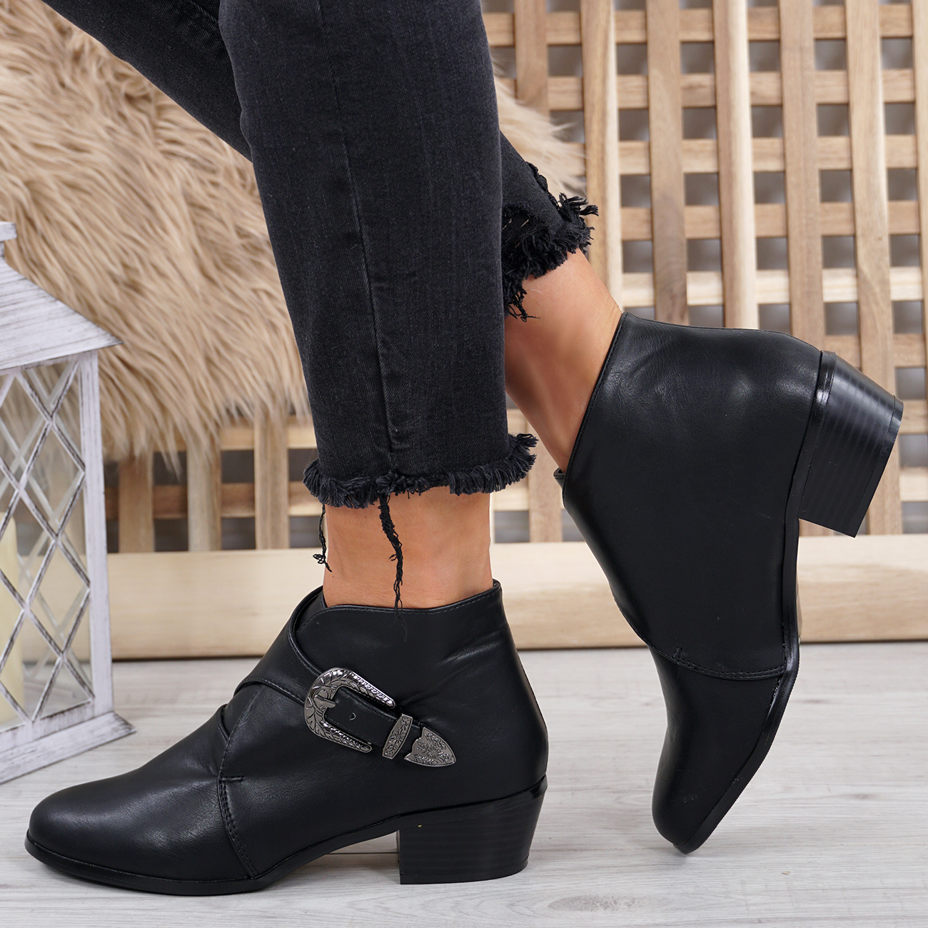 LADIES-WOMENS-PIXIE-ANKLE-BOOTS-BUCKLE-LOW-BLOCK-HEEL-CASUAL-SHOES-SIZE-UK