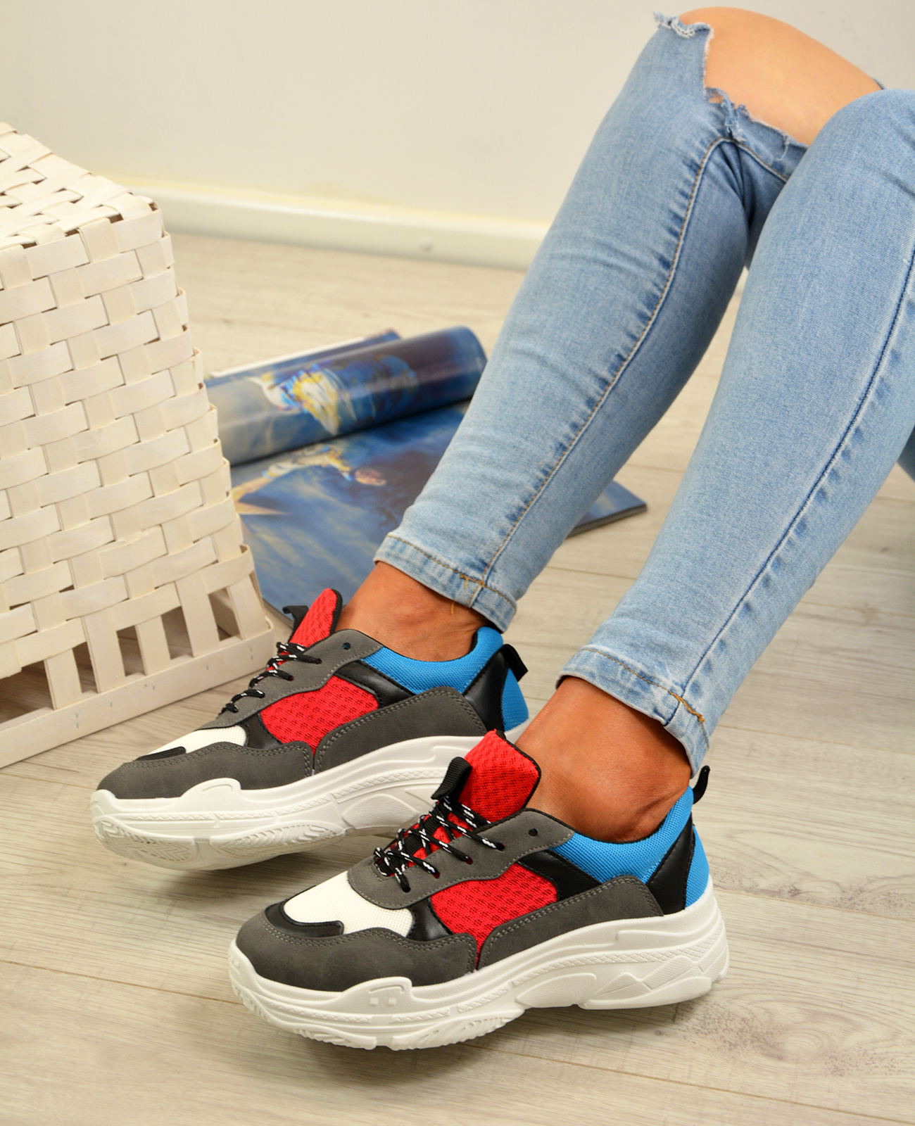 Femme-Running-Gym-Baskets-a-Lacets-Baskets-Tennis-Chaussures-Tailles-UK miniature 12