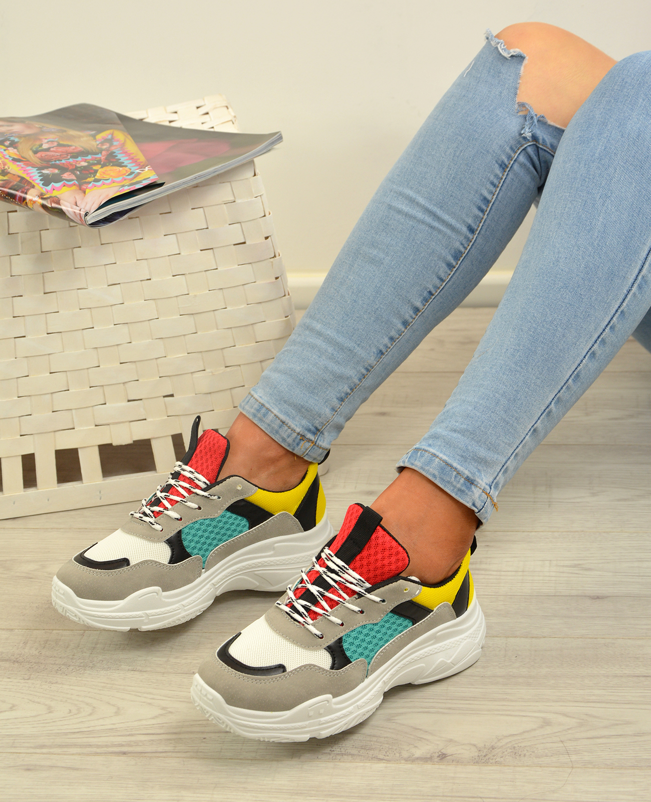 Femme-Running-Gym-Baskets-a-Lacets-Baskets-Tennis-Chaussures-Tailles-UK miniature 17