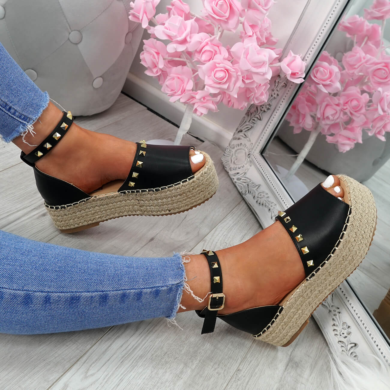 WOMENS-LADIES-ROCK-STUDS-ESPADRILLE-FLATFORM-PLATFORM-SANDALS-CASUAL-SHOES-SIZE thumbnail 6