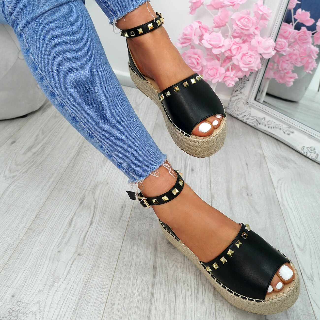 WOMENS-LADIES-ROCK-STUDS-ESPADRILLE-FLATFORM-PLATFORM-SANDALS-CASUAL-SHOES-SIZE thumbnail 7