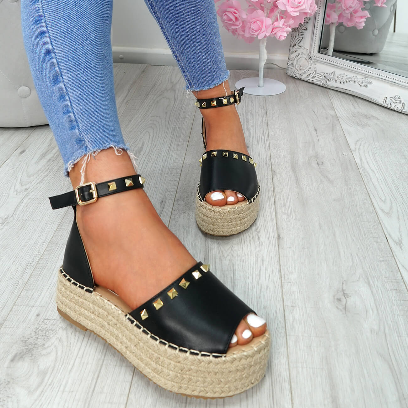 WOMENS-LADIES-ROCK-STUDS-ESPADRILLE-FLATFORM-PLATFORM-SANDALS-CASUAL-SHOES-SIZE thumbnail 8