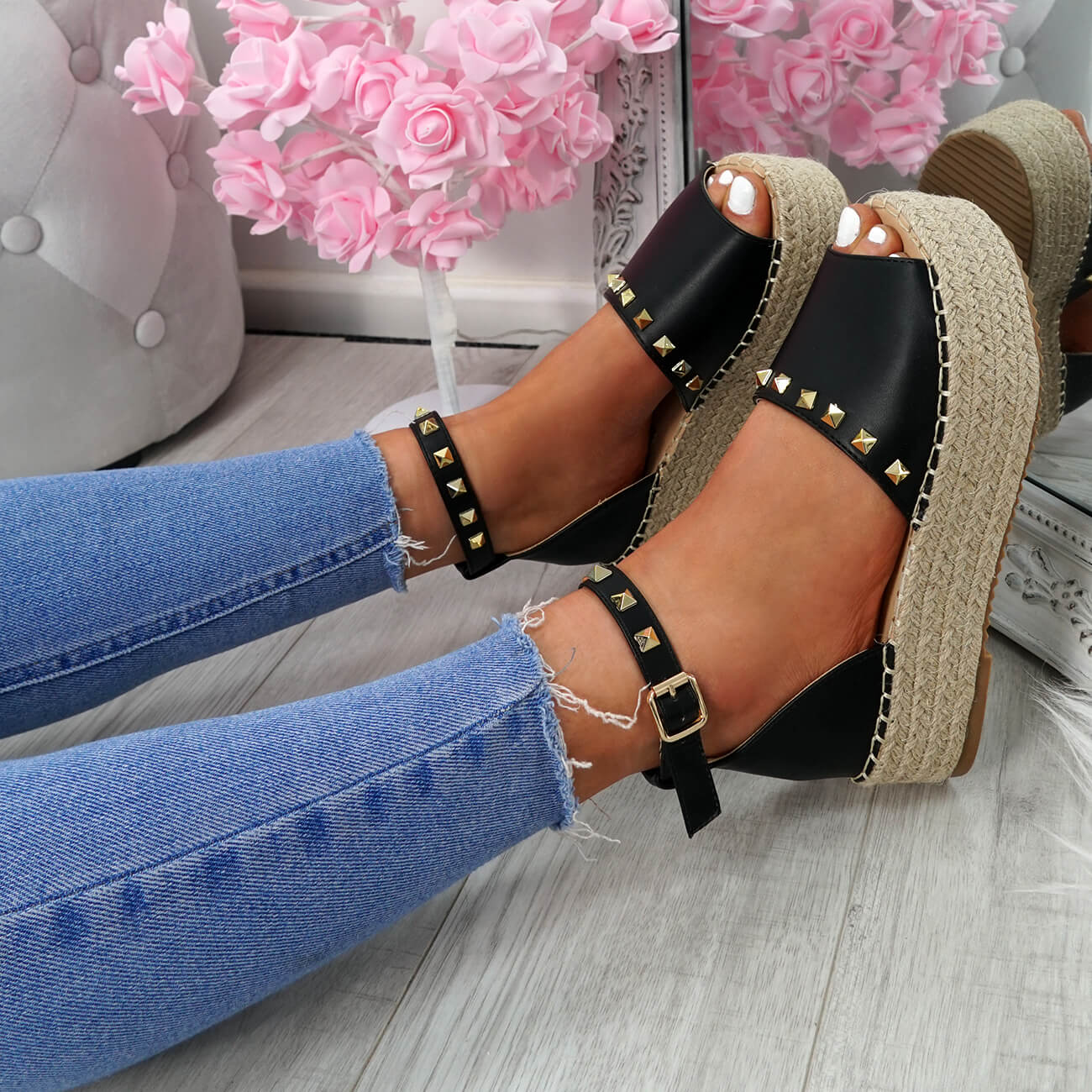 WOMENS-LADIES-ROCK-STUDS-ESPADRILLE-FLATFORM-PLATFORM-SANDALS-CASUAL-SHOES-SIZE thumbnail 9