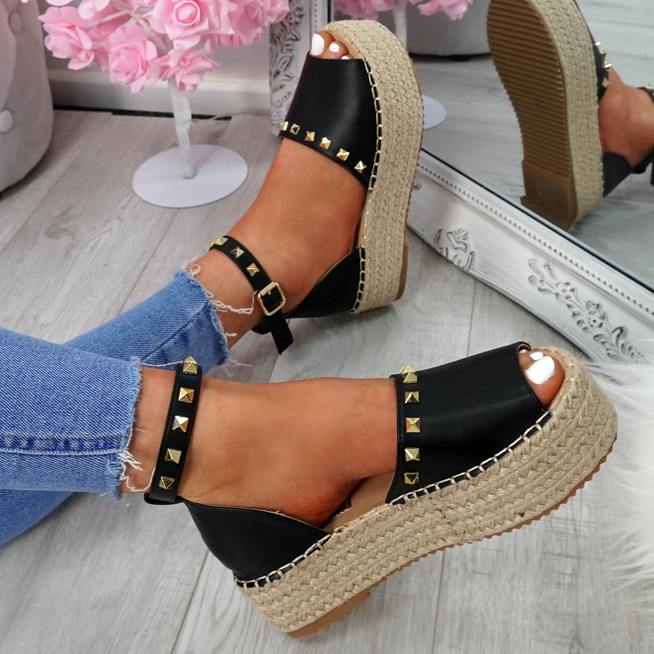 WOMENS-LADIES-ROCK-STUDS-ESPADRILLE-FLATFORM-PLATFORM-SANDALS-CASUAL-SHOES-SIZE thumbnail 10
