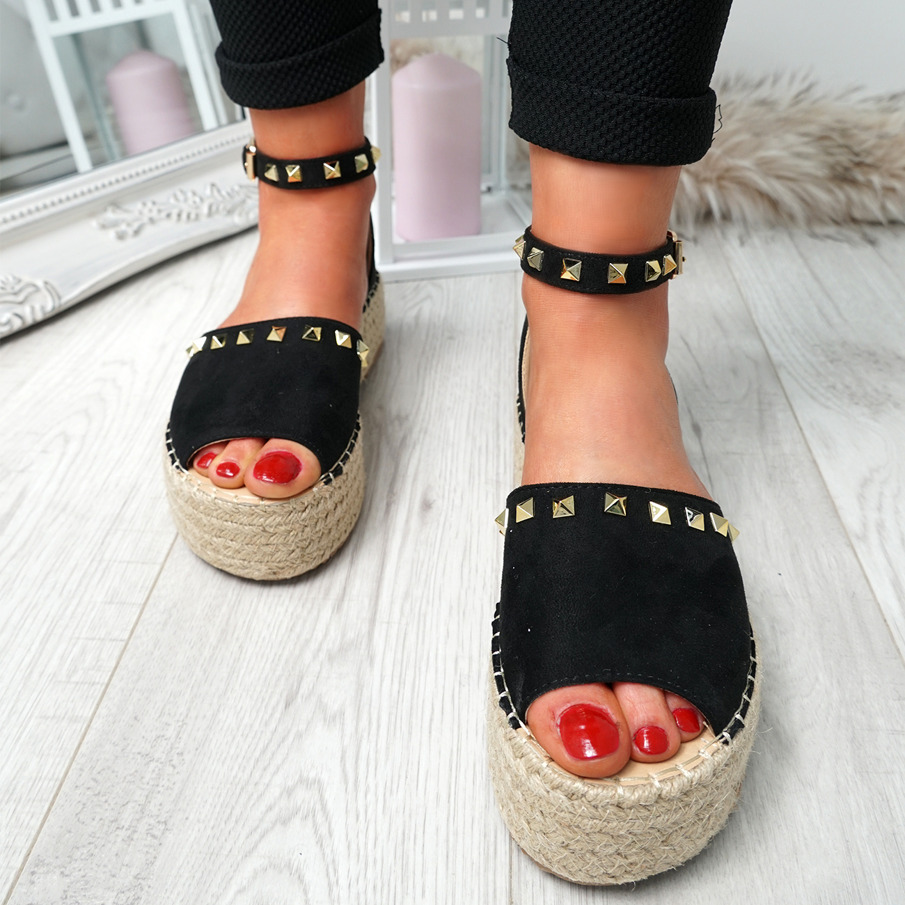 WOMENS-LADIES-ROCK-STUDS-ESPADRILLE-FLATFORM-PLATFORM-SANDALS-CASUAL-SHOES-SIZE thumbnail 12