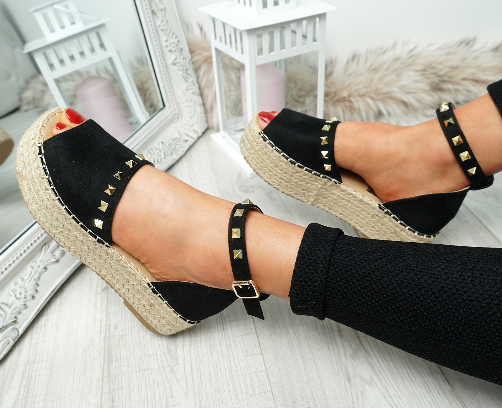 WOMENS-LADIES-ROCK-STUDS-ESPADRILLE-FLATFORM-PLATFORM-SANDALS-CASUAL-SHOES-SIZE thumbnail 13