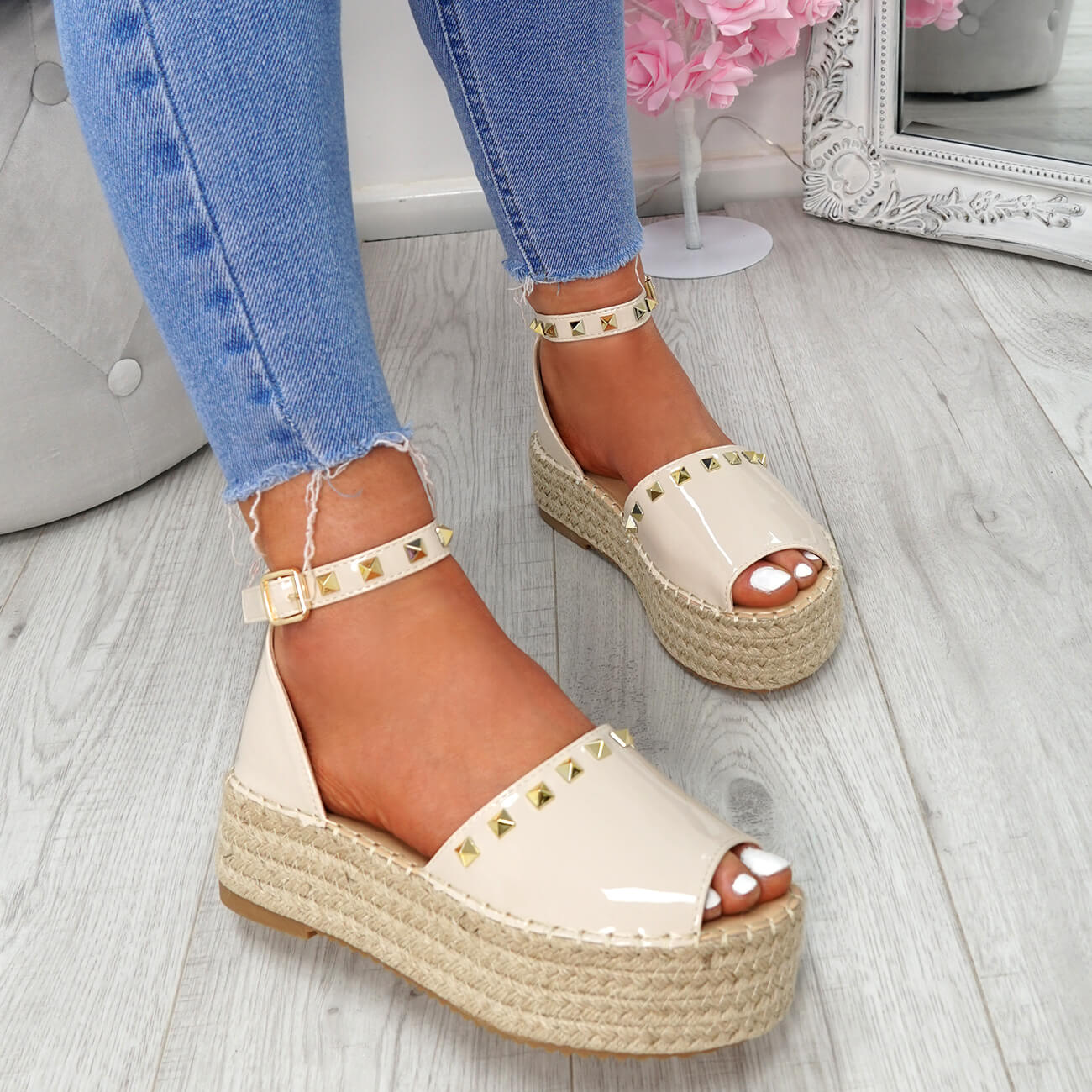 WOMENS-LADIES-ROCK-STUDS-ESPADRILLE-FLATFORM-PLATFORM-SANDALS-CASUAL-SHOES-SIZE thumbnail 17