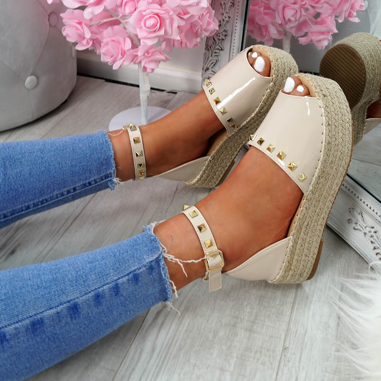 WOMENS-LADIES-ROCK-STUDS-ESPADRILLE-FLATFORM-PLATFORM-SANDALS-CASUAL-SHOES-SIZE thumbnail 19