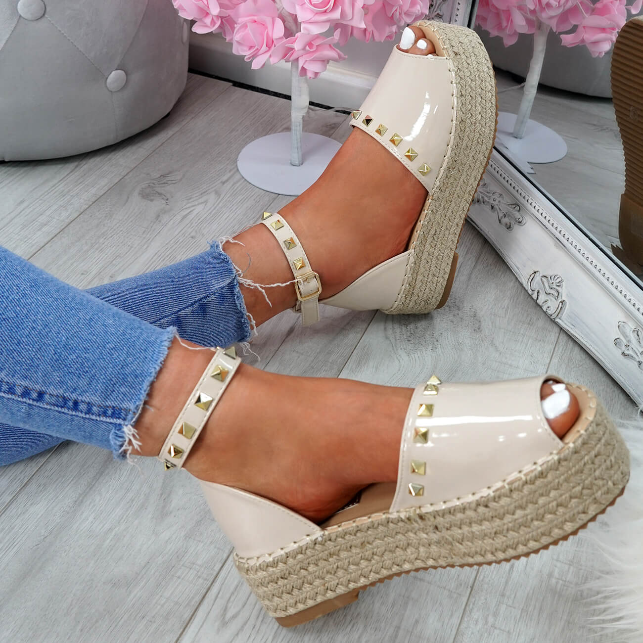 WOMENS-LADIES-ROCK-STUDS-ESPADRILLE-FLATFORM-PLATFORM-SANDALS-CASUAL-SHOES-SIZE thumbnail 20