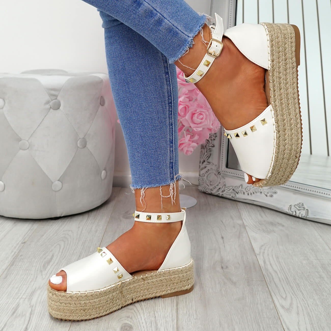 WOMENS-LADIES-ROCK-STUDS-ESPADRILLE-FLATFORM-PLATFORM-SANDALS-CASUAL-SHOES-SIZE thumbnail 22
