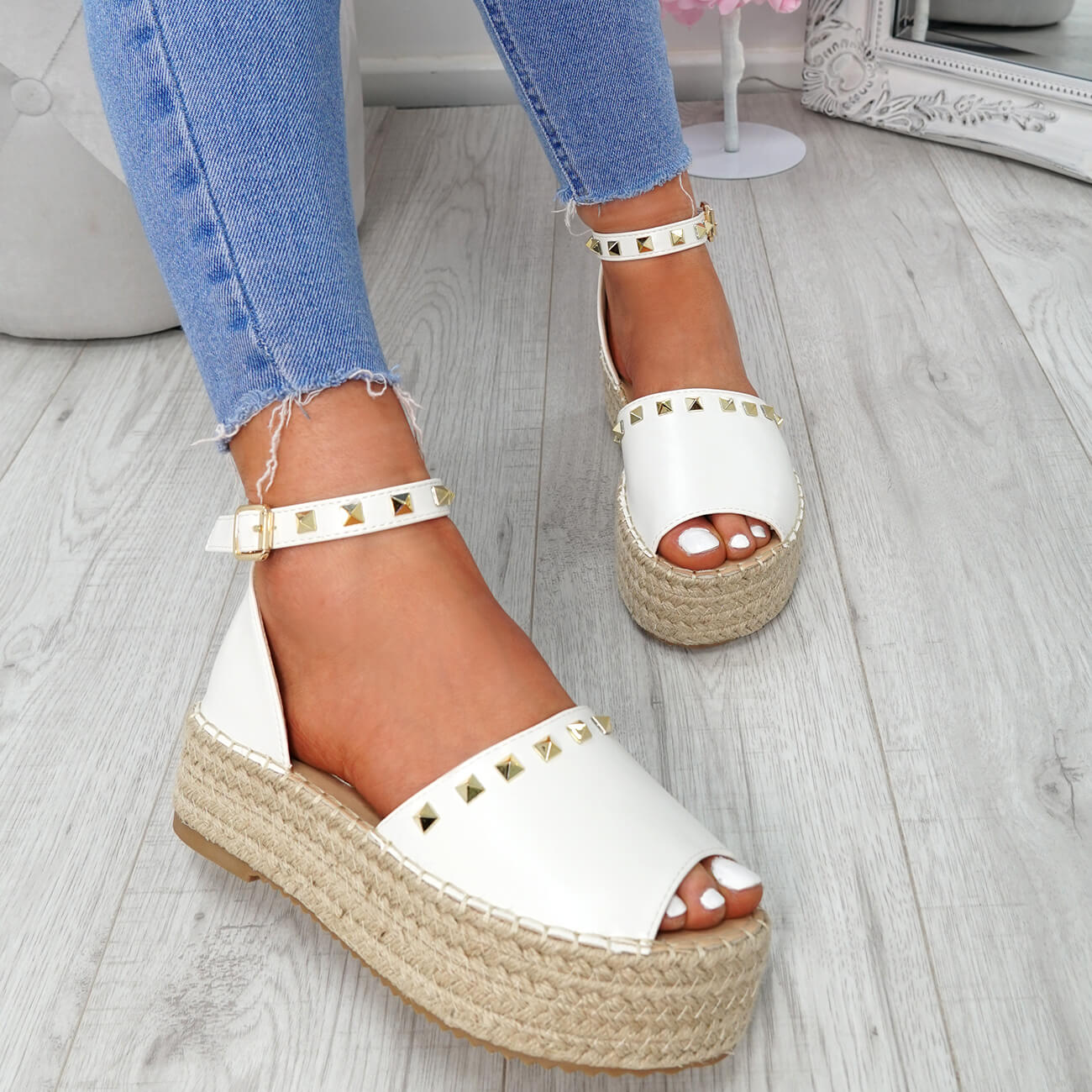 WOMENS-LADIES-ROCK-STUDS-ESPADRILLE-FLATFORM-PLATFORM-SANDALS-CASUAL-SHOES-SIZE thumbnail 23
