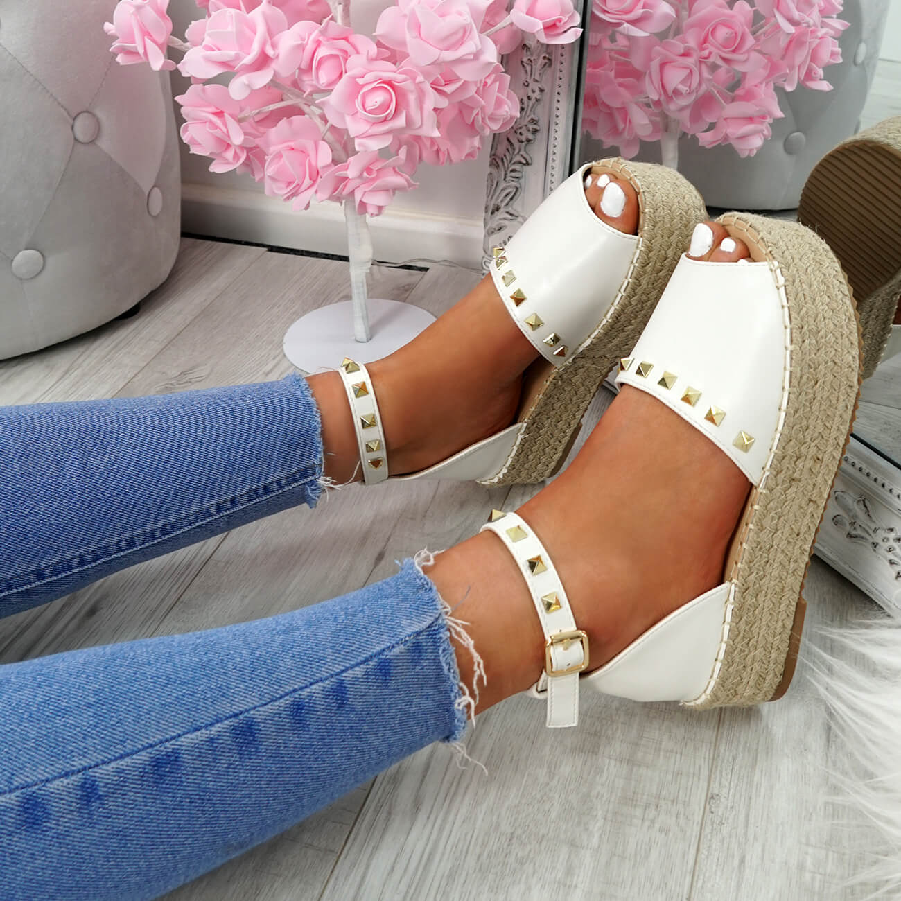 WOMENS-LADIES-ROCK-STUDS-ESPADRILLE-FLATFORM-PLATFORM-SANDALS-CASUAL-SHOES-SIZE thumbnail 24