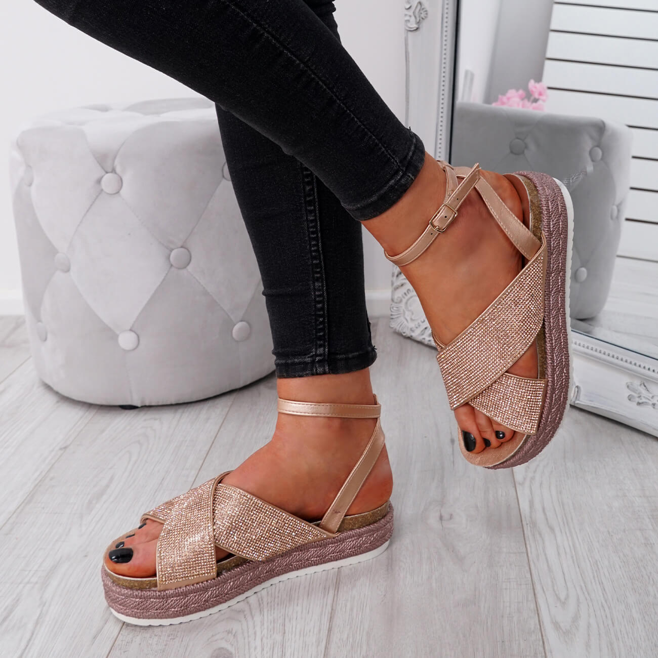 WOMENS-LADIES-ANKLE-STRAP-PEEP-TOE-STUDDED-LOW-HEEL-SANDALS-SHOES-SIZE-UK thumbnail 13