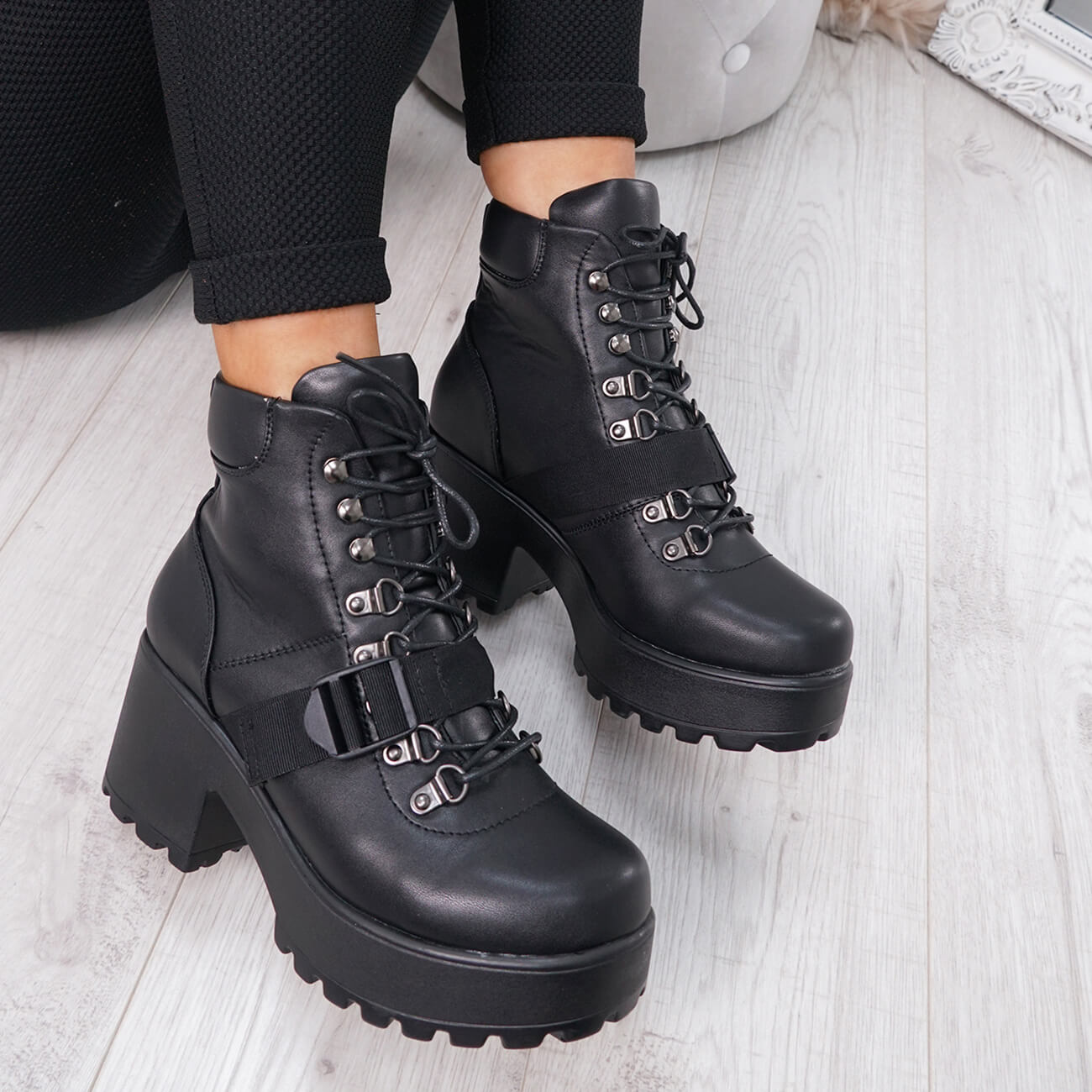 reputable site where to buy reliable quality Details about WOMENS LADIES CHUNKY ANKLE BOOTS BIKER BOOT LACE UP BUCKLE  SHOES