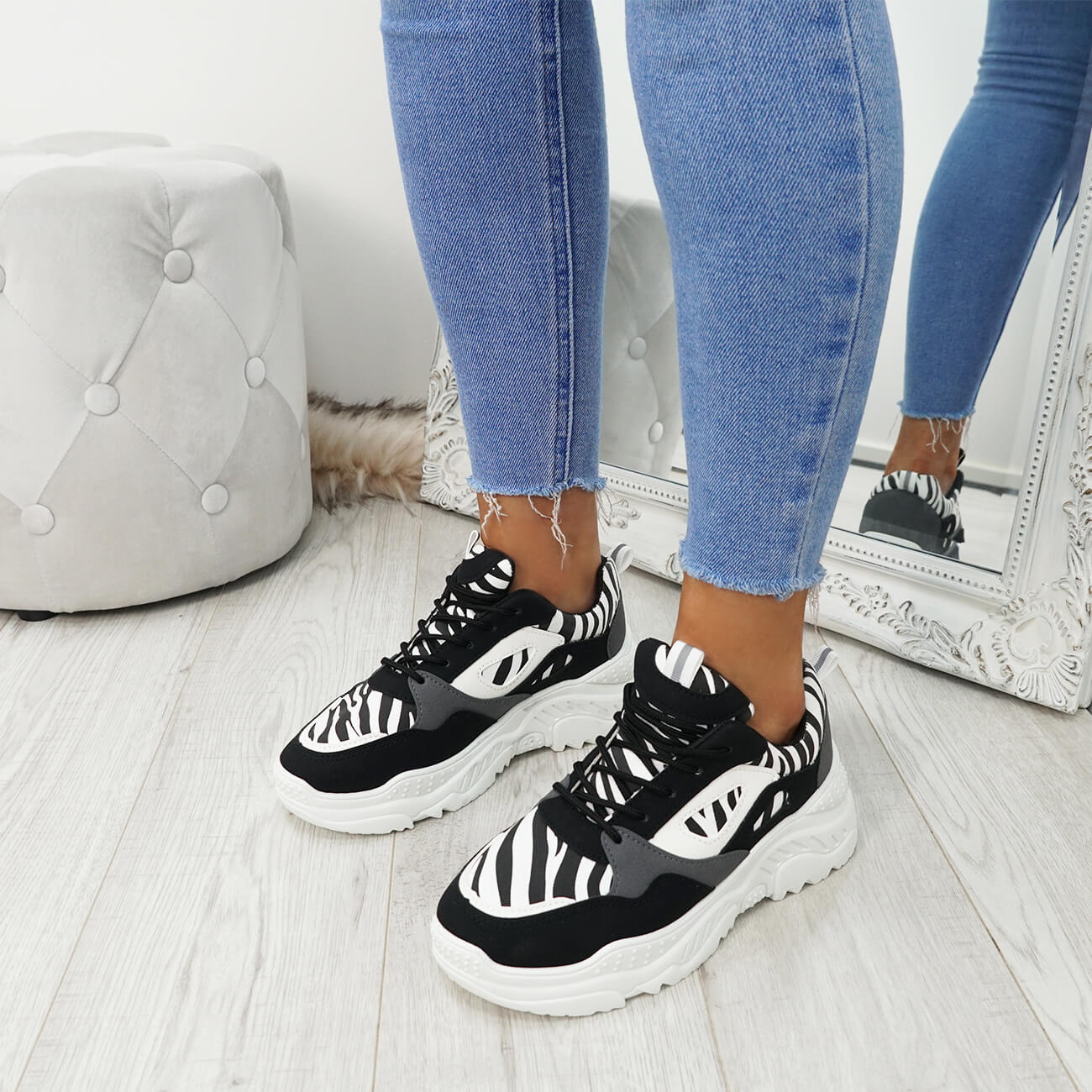 WOMENS-LADIES-LACE-UP-ZEBRA-PATTERN-CHUNKY-TRAINERS-SNEAKERS-PLIMSOLL-SHOES thumbnail 7
