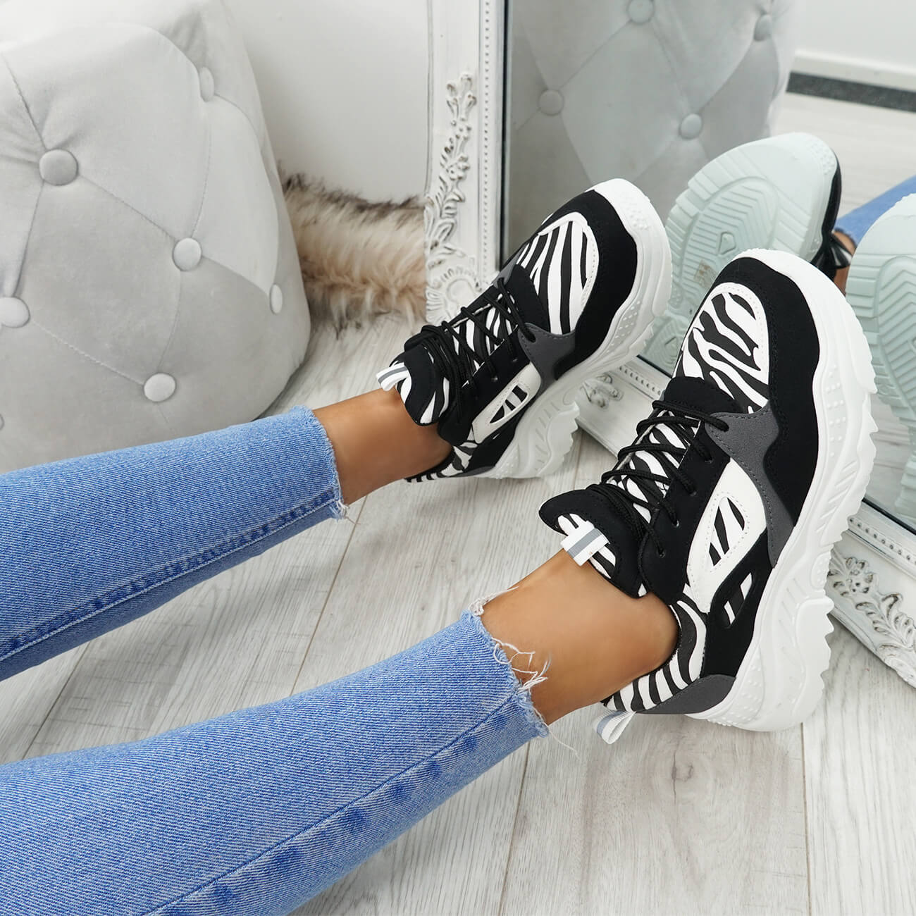 WOMENS-LADIES-LACE-UP-ZEBRA-PATTERN-CHUNKY-TRAINERS-SNEAKERS-PLIMSOLL-SHOES thumbnail 8