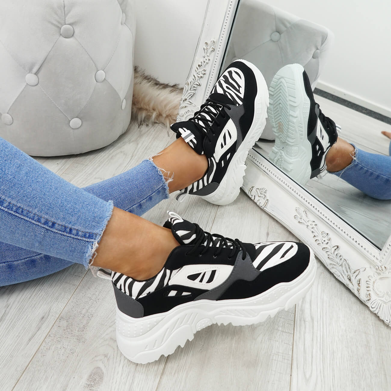 WOMENS-LADIES-LACE-UP-ZEBRA-PATTERN-CHUNKY-TRAINERS-SNEAKERS-PLIMSOLL-SHOES thumbnail 9