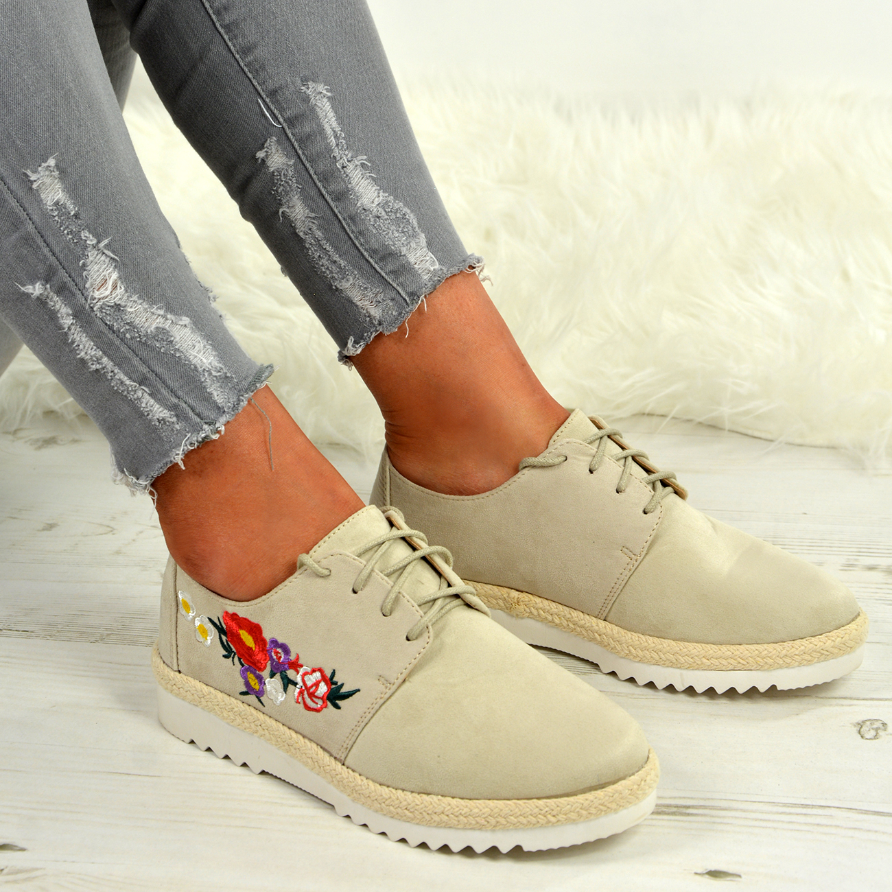 LADIES-WOMENS-FLORAL-LACE-UP-TRAINERS-PLIMSOLL-PUMPS-CASUAL-SHOES-SIZE-UK thumbnail 10