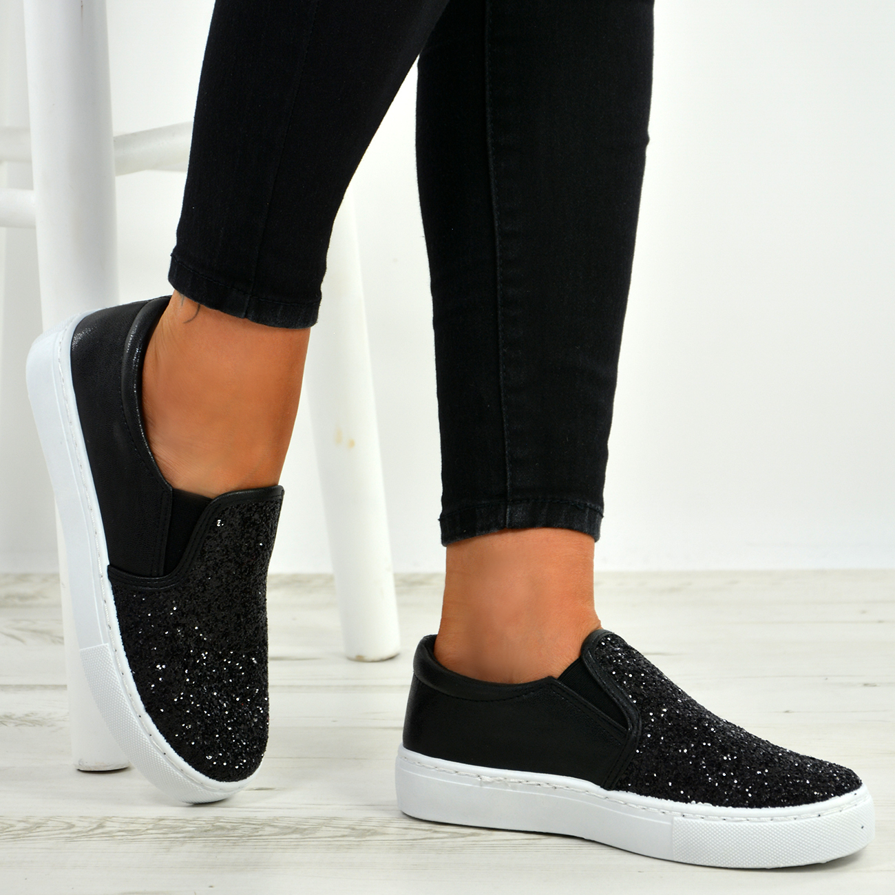 NEW WOMENS LADIES FLAT FAUX LEATHER FASHION TRAINERS PLIMSOLLS SNEAKERS SIZE 3-8