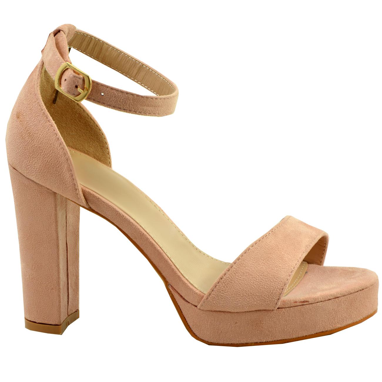 Womens Ladies Platform High Block Heel Strappy Sandals ...
