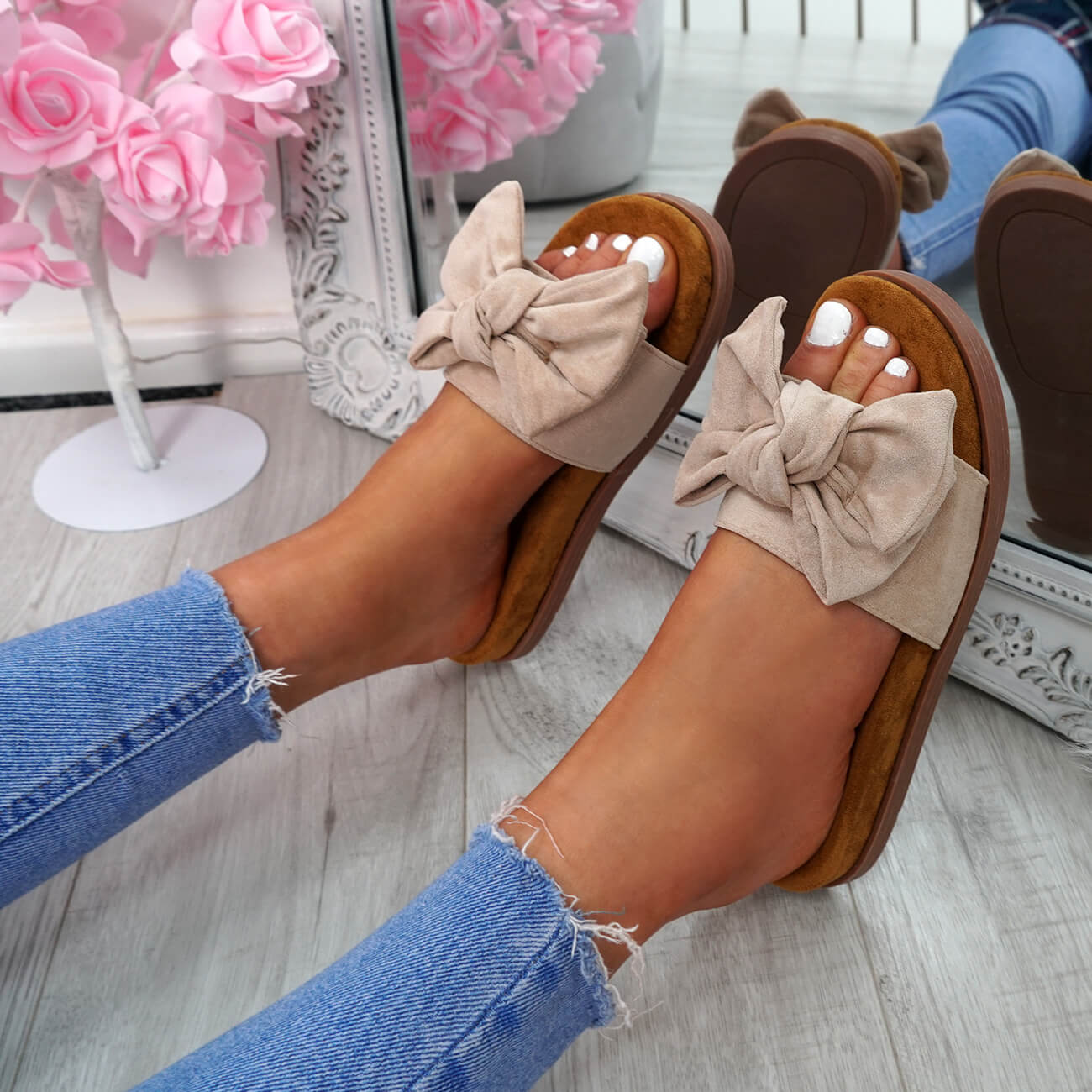 WOMENS-LADIES-FLAT-SANDALS-FRONT-BOW-COMFY-SUMMER-CASUAL-HOLIDAY-SHOES-SIZE-UK thumbnail 10