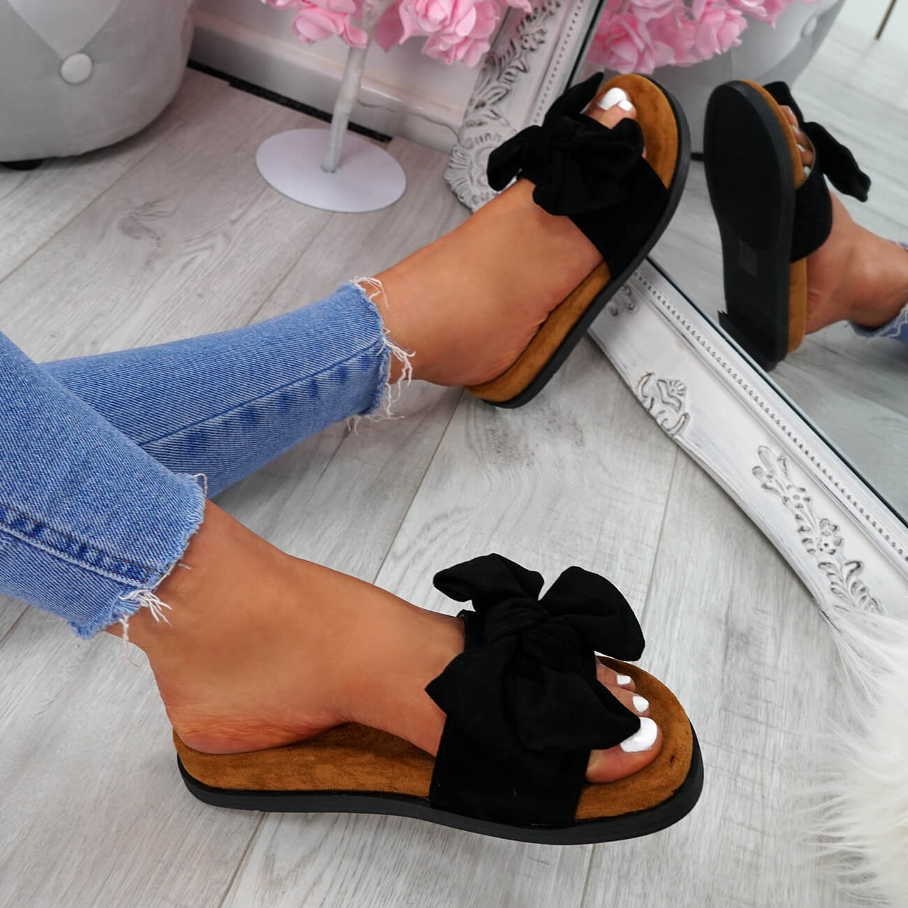 WOMENS-LADIES-FLAT-SANDALS-FRONT-BOW-COMFY-SUMMER-CASUAL-HOLIDAY-SHOES-SIZE-UK thumbnail 13
