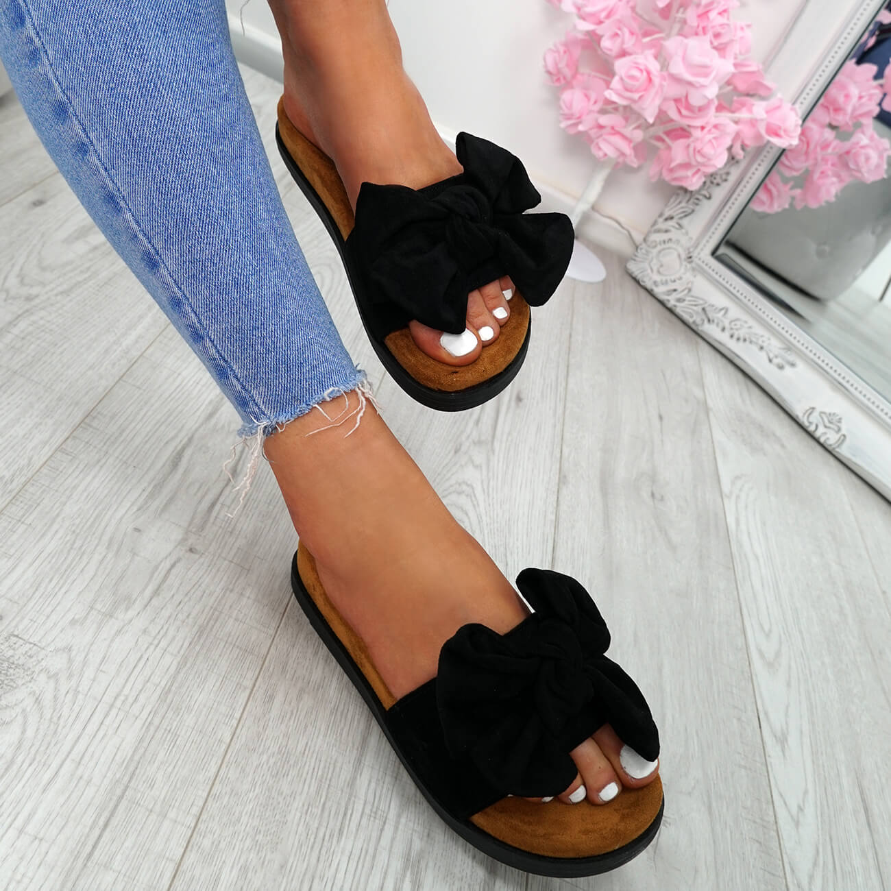 WOMENS-LADIES-FLAT-SANDALS-FRONT-BOW-COMFY-SUMMER-CASUAL-HOLIDAY-SHOES-SIZE-UK thumbnail 14