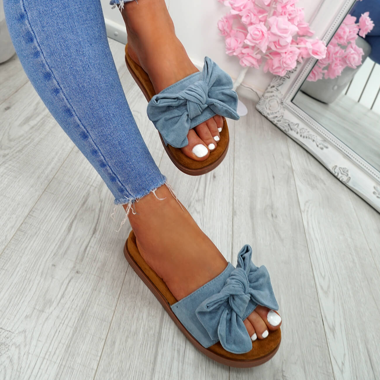 WOMENS-LADIES-FLAT-SANDALS-FRONT-BOW-COMFY-SUMMER-CASUAL-HOLIDAY-SHOES-SIZE-UK thumbnail 17
