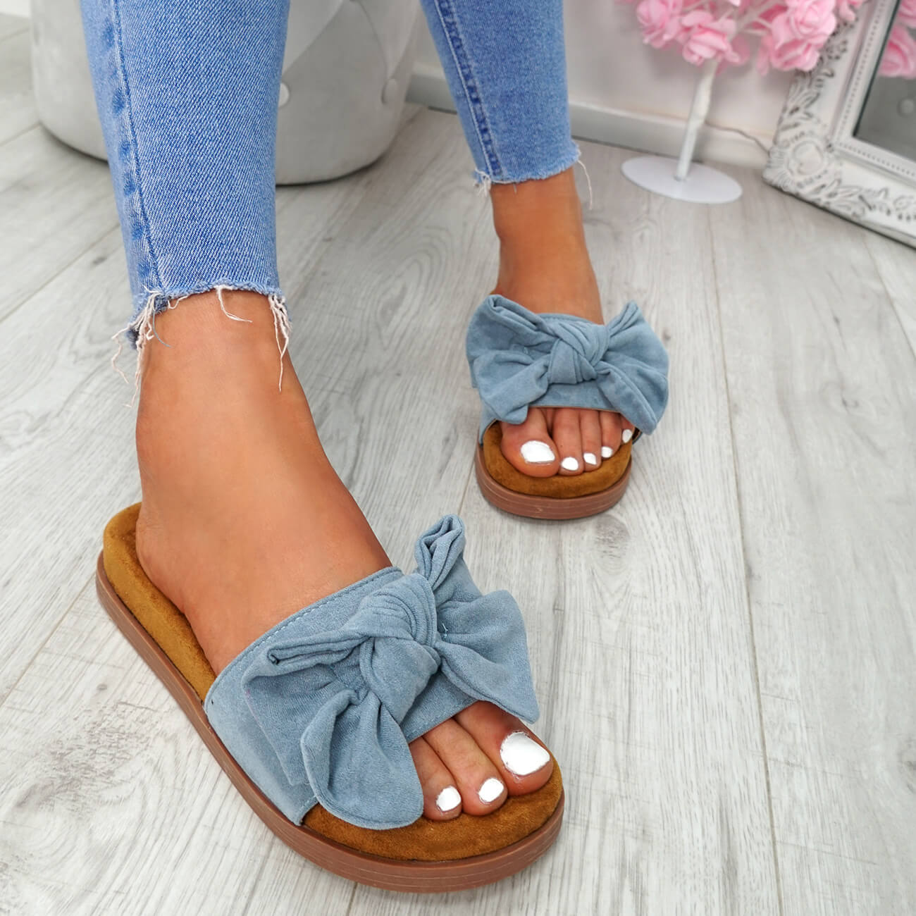 WOMENS-LADIES-FLAT-SANDALS-FRONT-BOW-COMFY-SUMMER-CASUAL-HOLIDAY-SHOES-SIZE-UK thumbnail 18