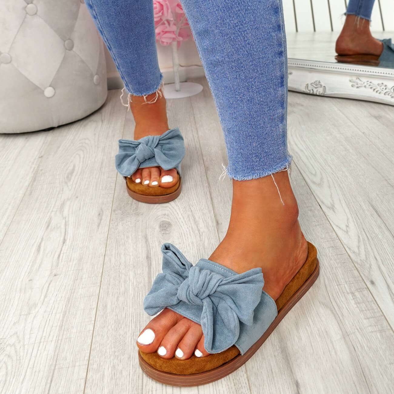 WOMENS-LADIES-FLAT-SANDALS-FRONT-BOW-COMFY-SUMMER-CASUAL-HOLIDAY-SHOES-SIZE-UK thumbnail 19