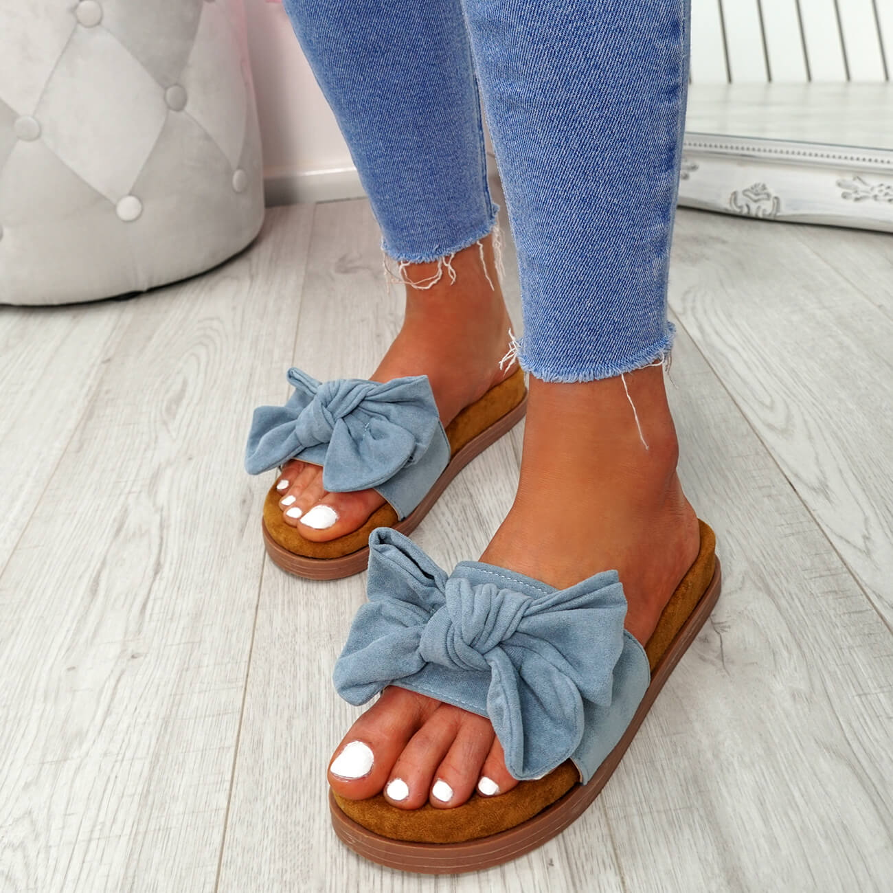 WOMENS-LADIES-FLAT-SANDALS-FRONT-BOW-COMFY-SUMMER-CASUAL-HOLIDAY-SHOES-SIZE-UK thumbnail 20