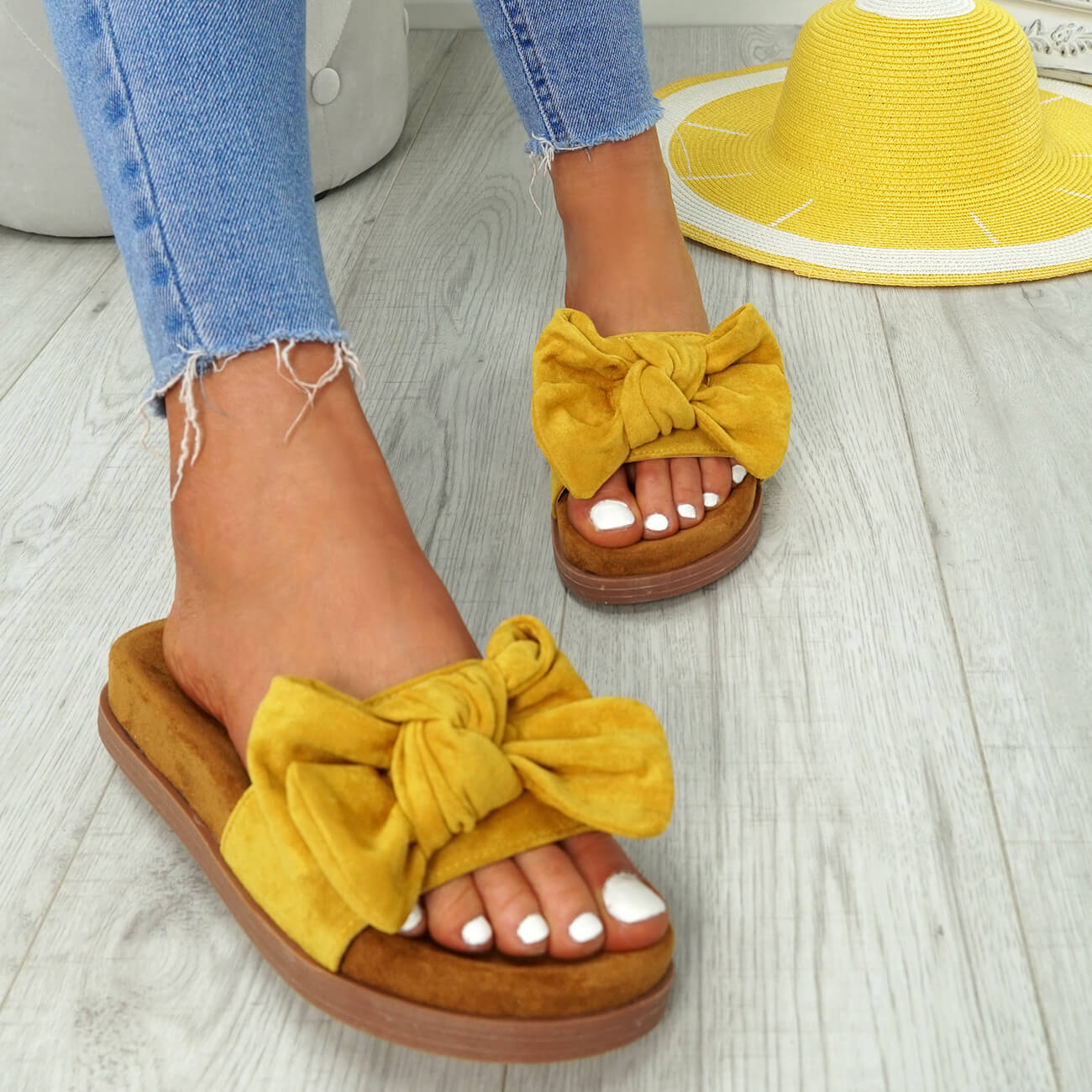 WOMENS-LADIES-FLAT-SANDALS-FRONT-BOW-COMFY-SUMMER-CASUAL-HOLIDAY-SHOES-SIZE-UK thumbnail 30