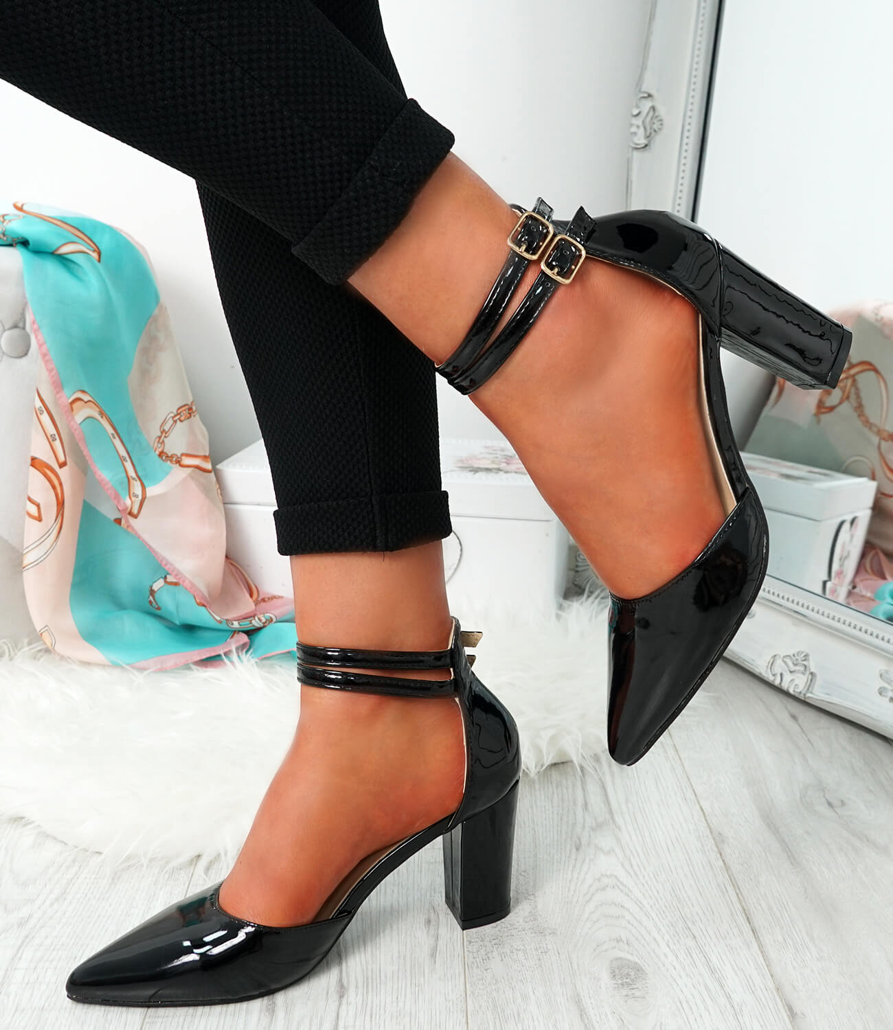 WOMENS-LADIES-ANKLE-DOUBLE-STRAP-HIGH-BLOCK-HEEL-POINTED-TOE-PARTY-SHOES-SIZE thumbnail 7