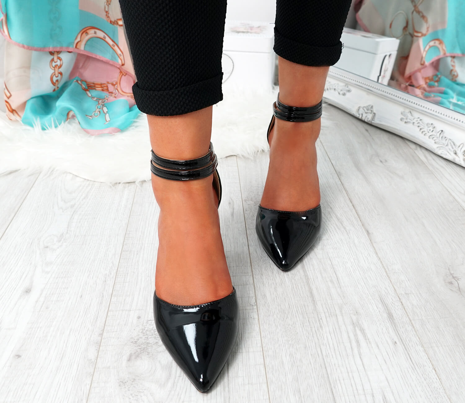 WOMENS-LADIES-ANKLE-DOUBLE-STRAP-HIGH-BLOCK-HEEL-POINTED-TOE-PARTY-SHOES-SIZE thumbnail 8