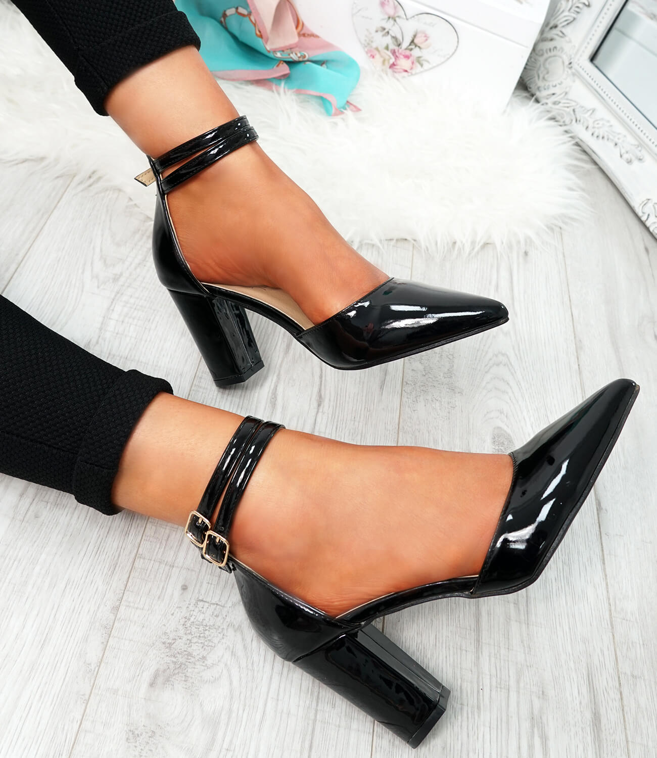 WOMENS-LADIES-ANKLE-DOUBLE-STRAP-HIGH-BLOCK-HEEL-POINTED-TOE-PARTY-SHOES-SIZE thumbnail 10