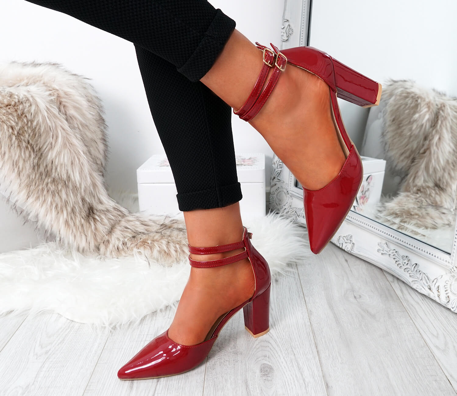 WOMENS-LADIES-ANKLE-DOUBLE-STRAP-HIGH-BLOCK-HEEL-POINTED-TOE-PARTY-SHOES-SIZE thumbnail 12