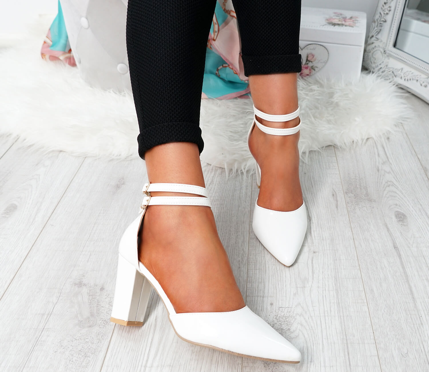 WOMENS-LADIES-ANKLE-DOUBLE-STRAP-HIGH-BLOCK-HEEL-POINTED-TOE-PARTY-SHOES-SIZE thumbnail 17