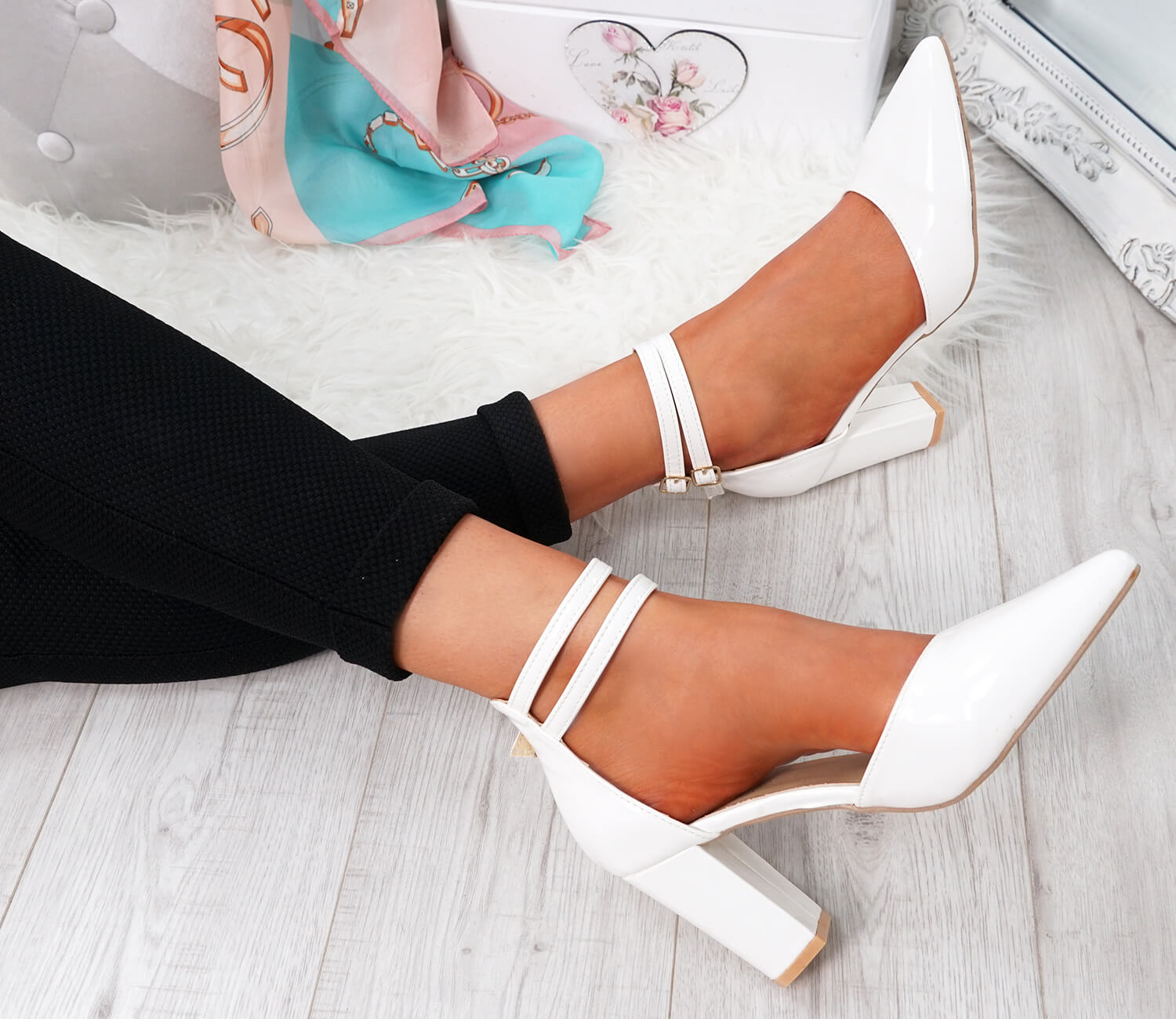 WOMENS-LADIES-ANKLE-DOUBLE-STRAP-HIGH-BLOCK-HEEL-POINTED-TOE-PARTY-SHOES-SIZE thumbnail 18