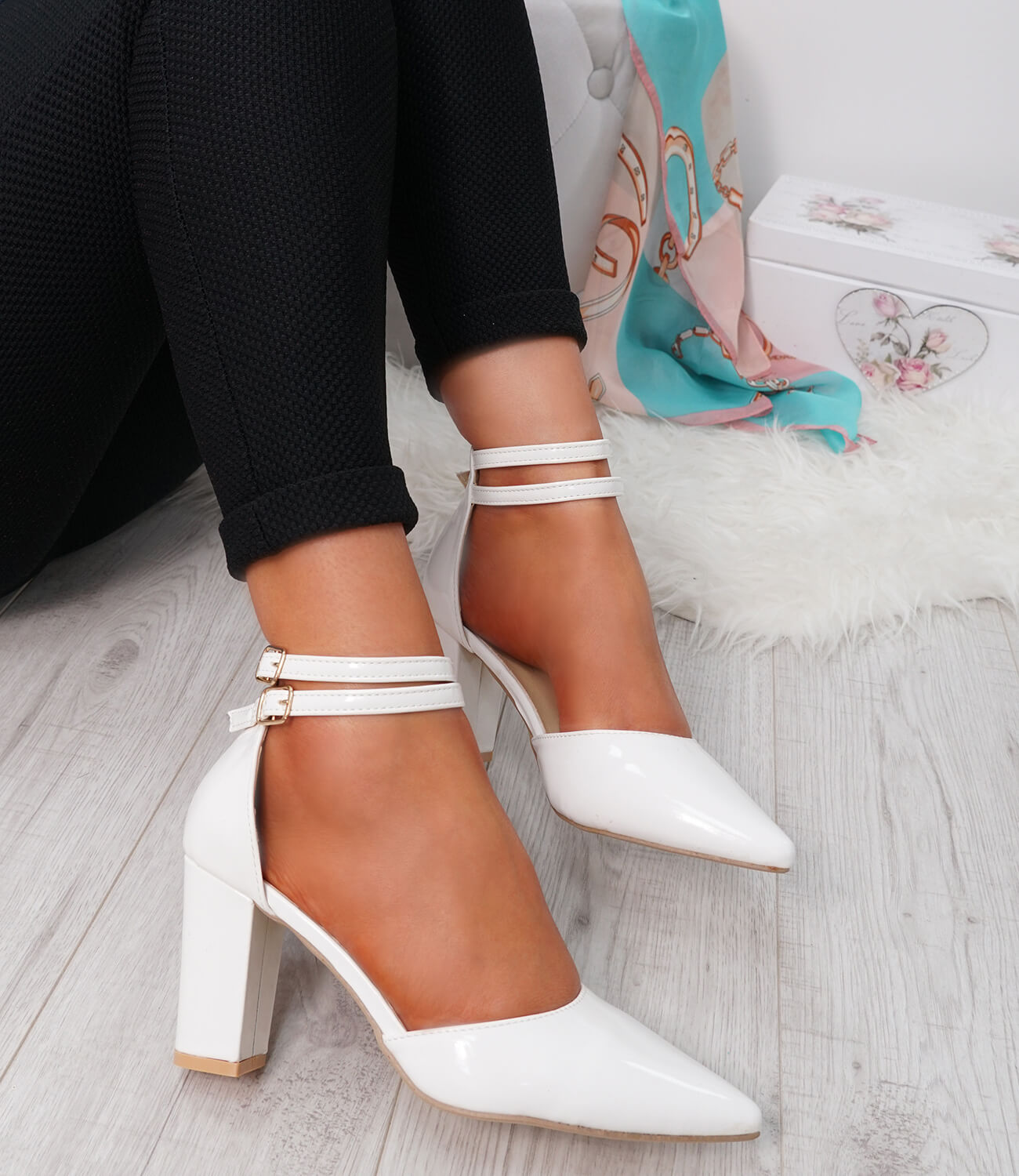 WOMENS-LADIES-ANKLE-DOUBLE-STRAP-HIGH-BLOCK-HEEL-POINTED-TOE-PARTY-SHOES-SIZE thumbnail 19