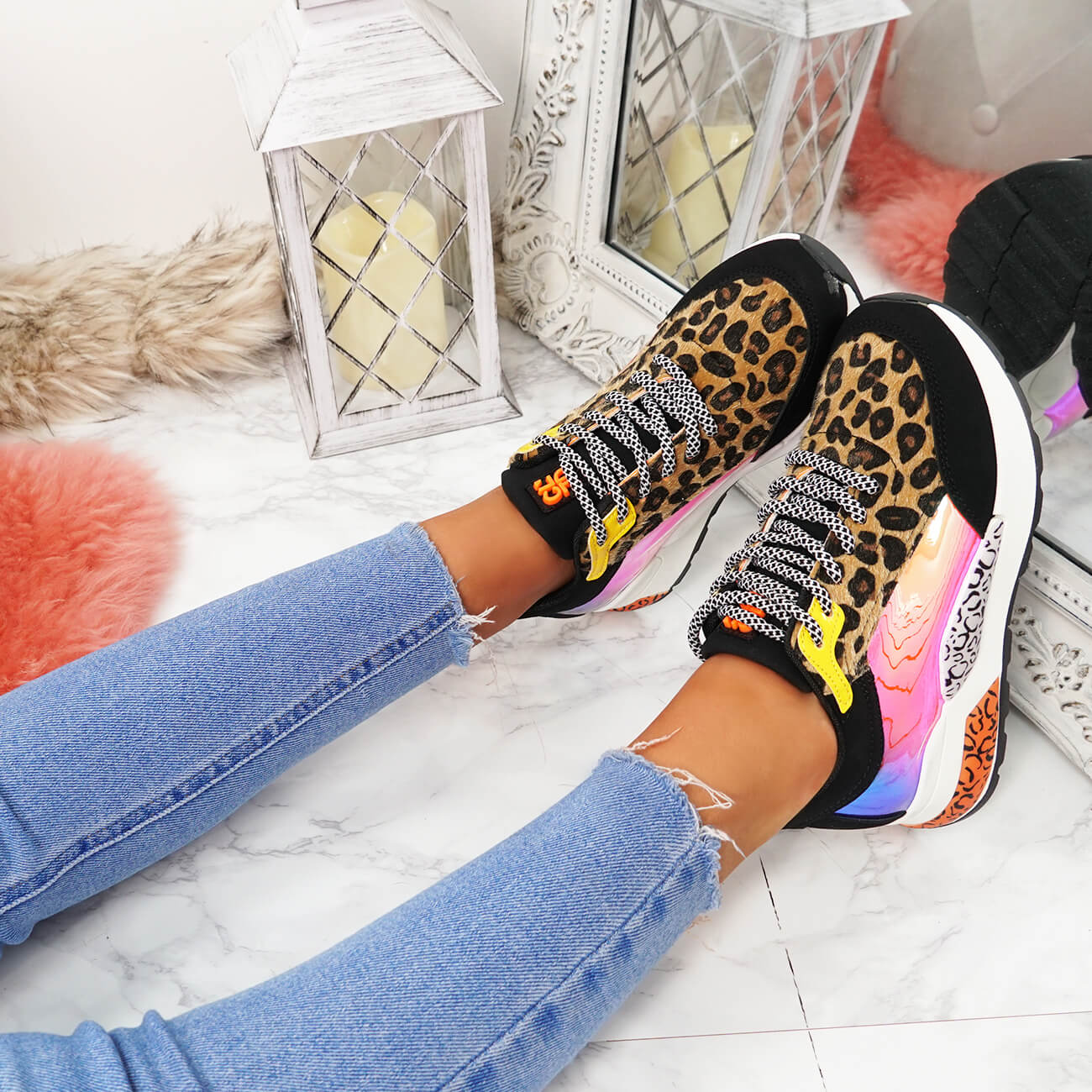 WOMENS LADIES LACE UP MULTICOLOR CHUNKY TRAINERS SNEAKERS PARTY WOMEN SHOES SIZE