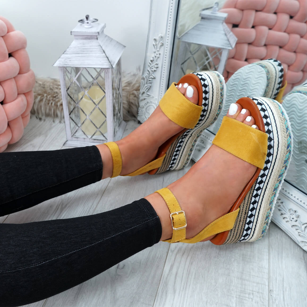 WOMENS-LADIES-ANKLE-STRAP-FLATFORM-SANDALS-PLATFORM-SUMMER-ESPADRILLE-SHOES thumbnail 48