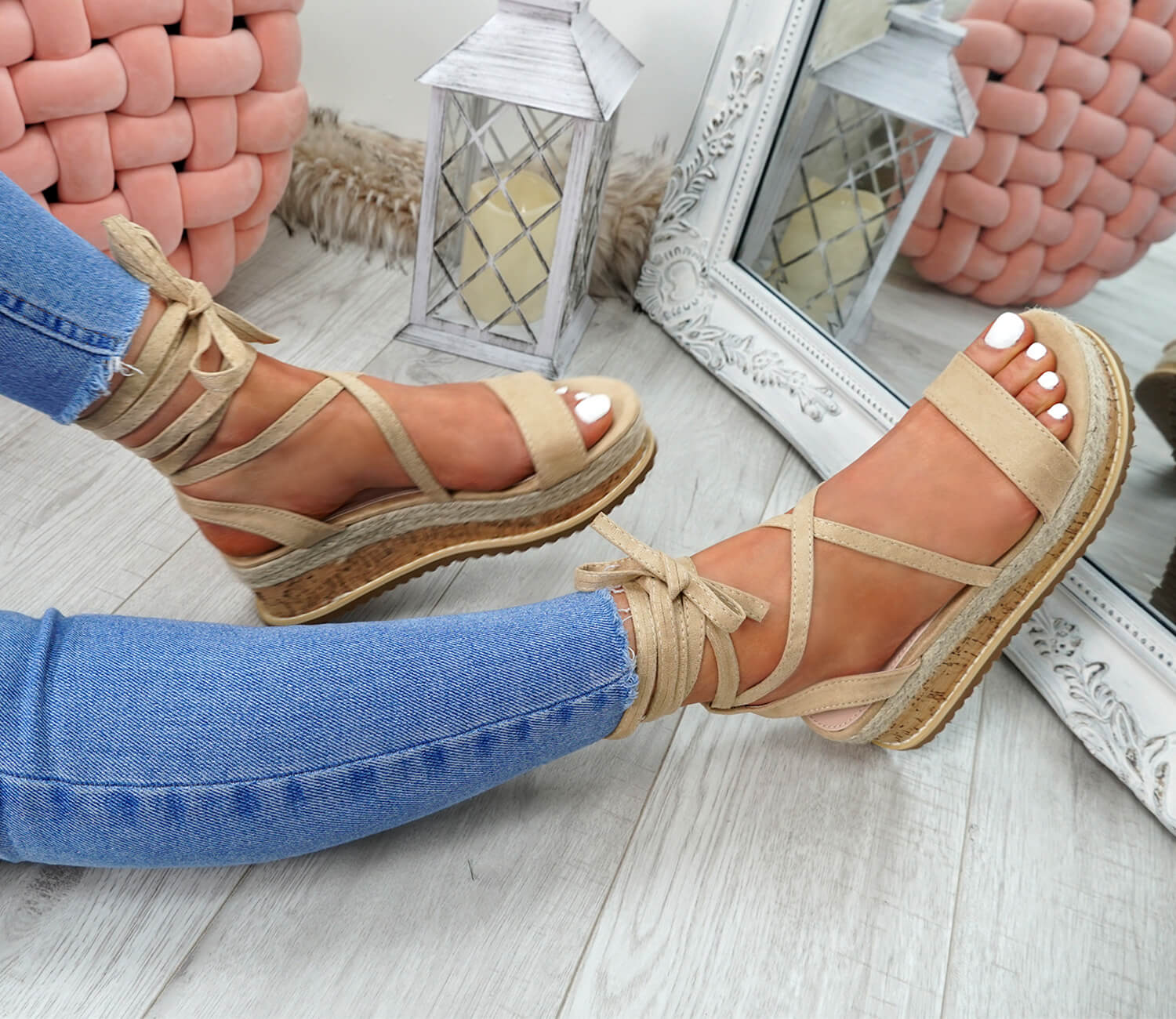 WOMENS-LADIES-ANKLE-WRAP-ESPADRILLE-FLATFORM-SANDALS-HEEL-SUMMER-SHOES-SIZE thumbnail 8