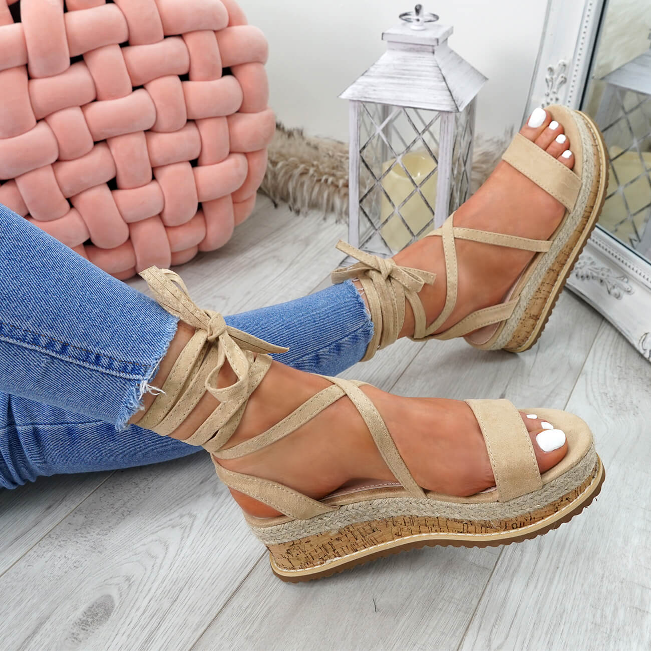 WOMENS-LADIES-ANKLE-WRAP-ESPADRILLE-FLATFORM-SANDALS-HEEL-SUMMER-SHOES-SIZE thumbnail 9