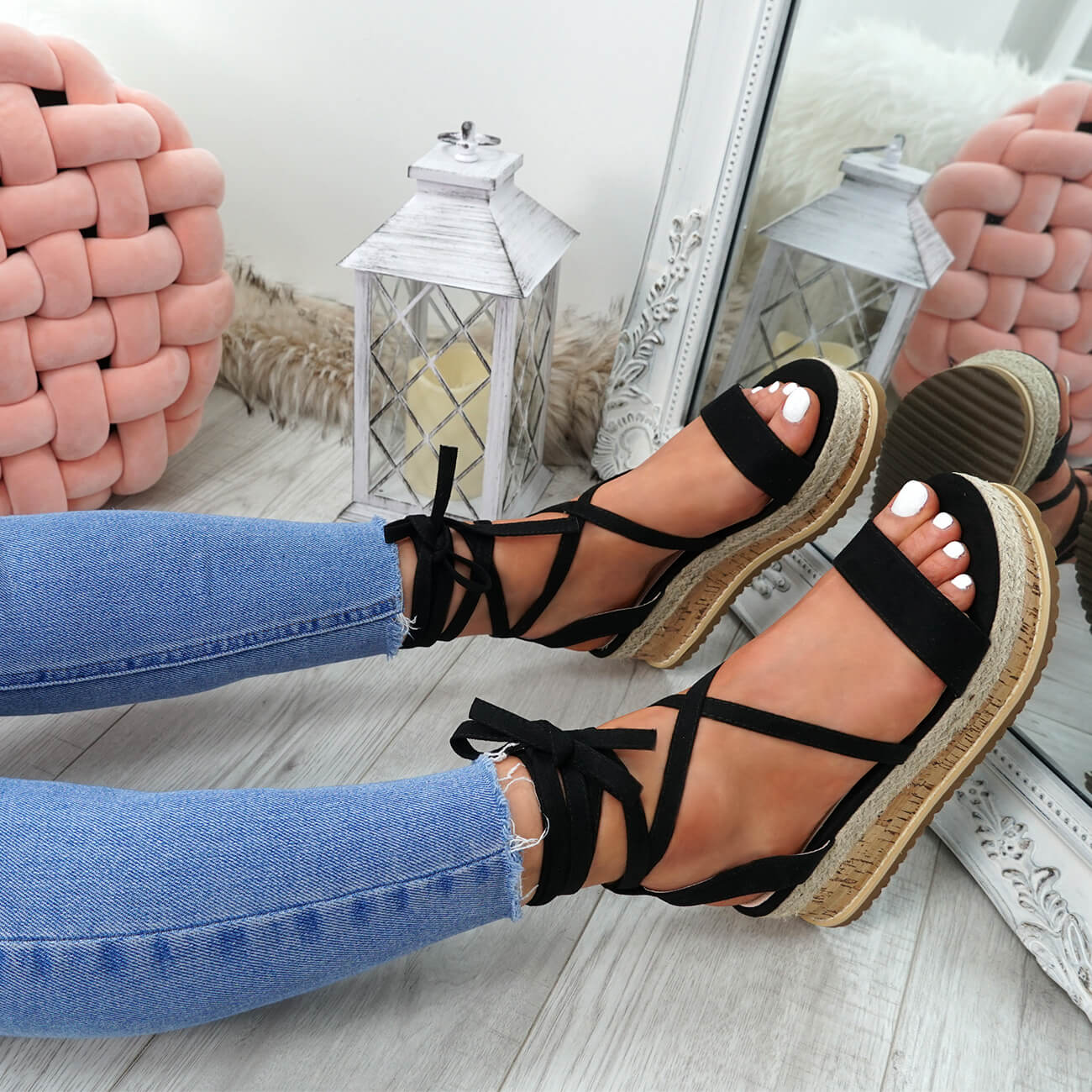 WOMENS-LADIES-ANKLE-WRAP-ESPADRILLE-FLATFORM-SANDALS-HEEL-SUMMER-SHOES-SIZE thumbnail 12